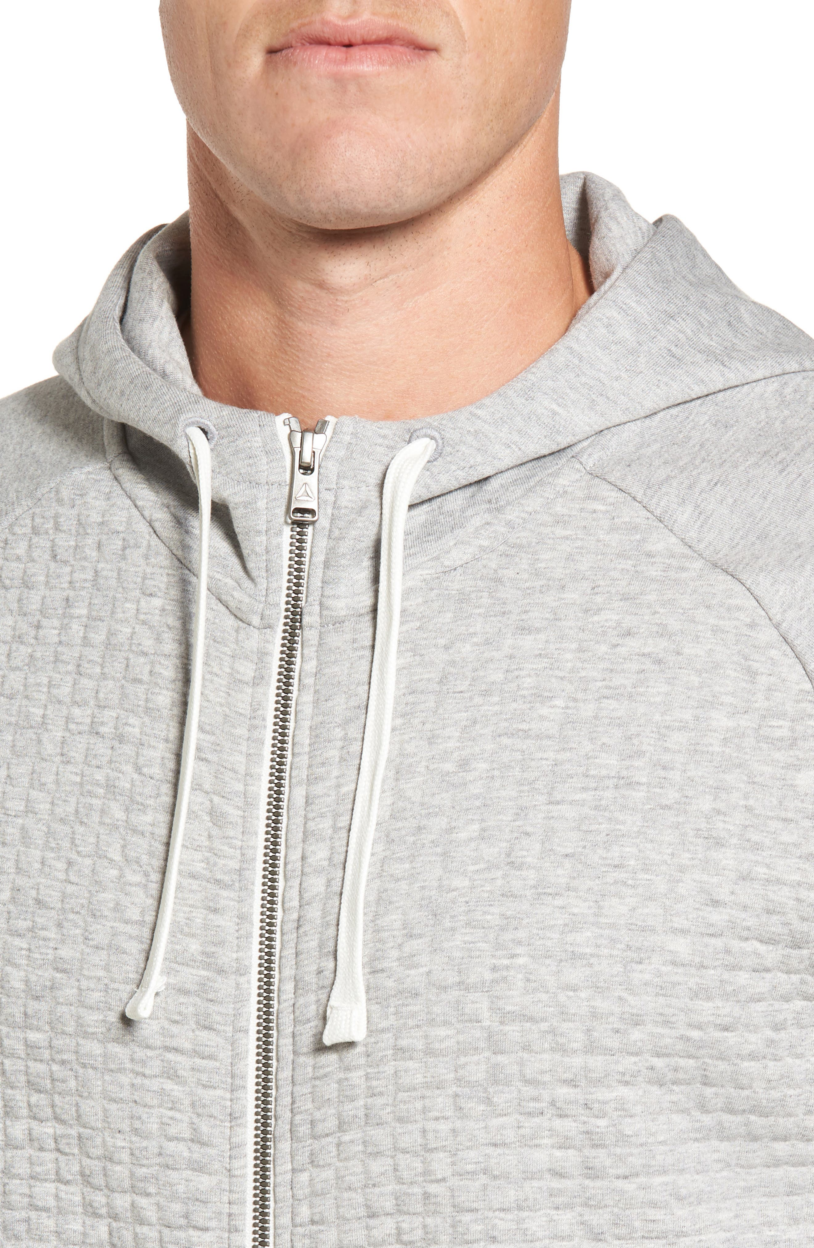 Classic Quilted Zip Hoodie,                             Alternate thumbnail 4, color,                             Medium Grey Heather