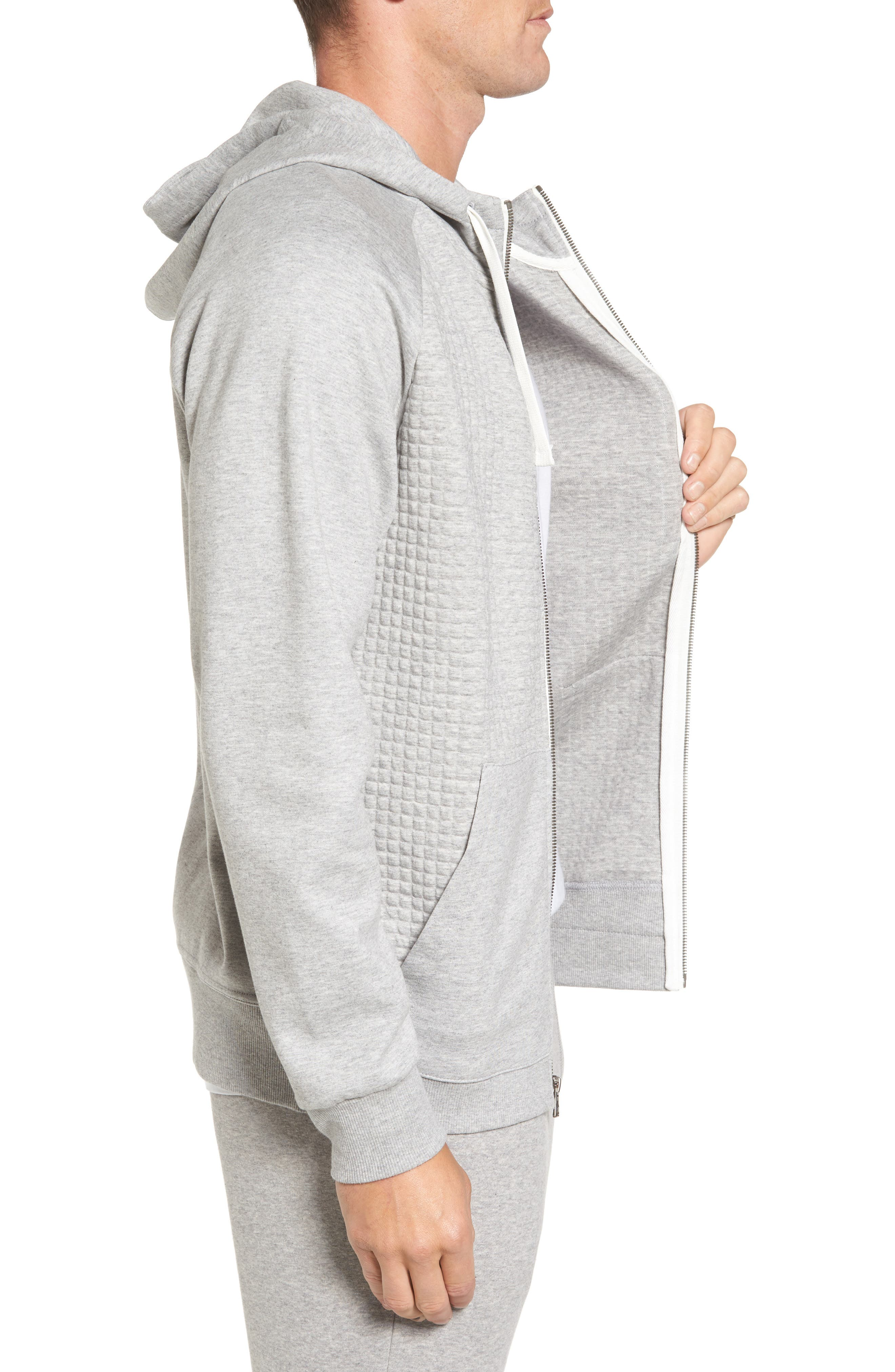 Classic Quilted Zip Hoodie,                             Alternate thumbnail 3, color,                             Medium Grey Heather