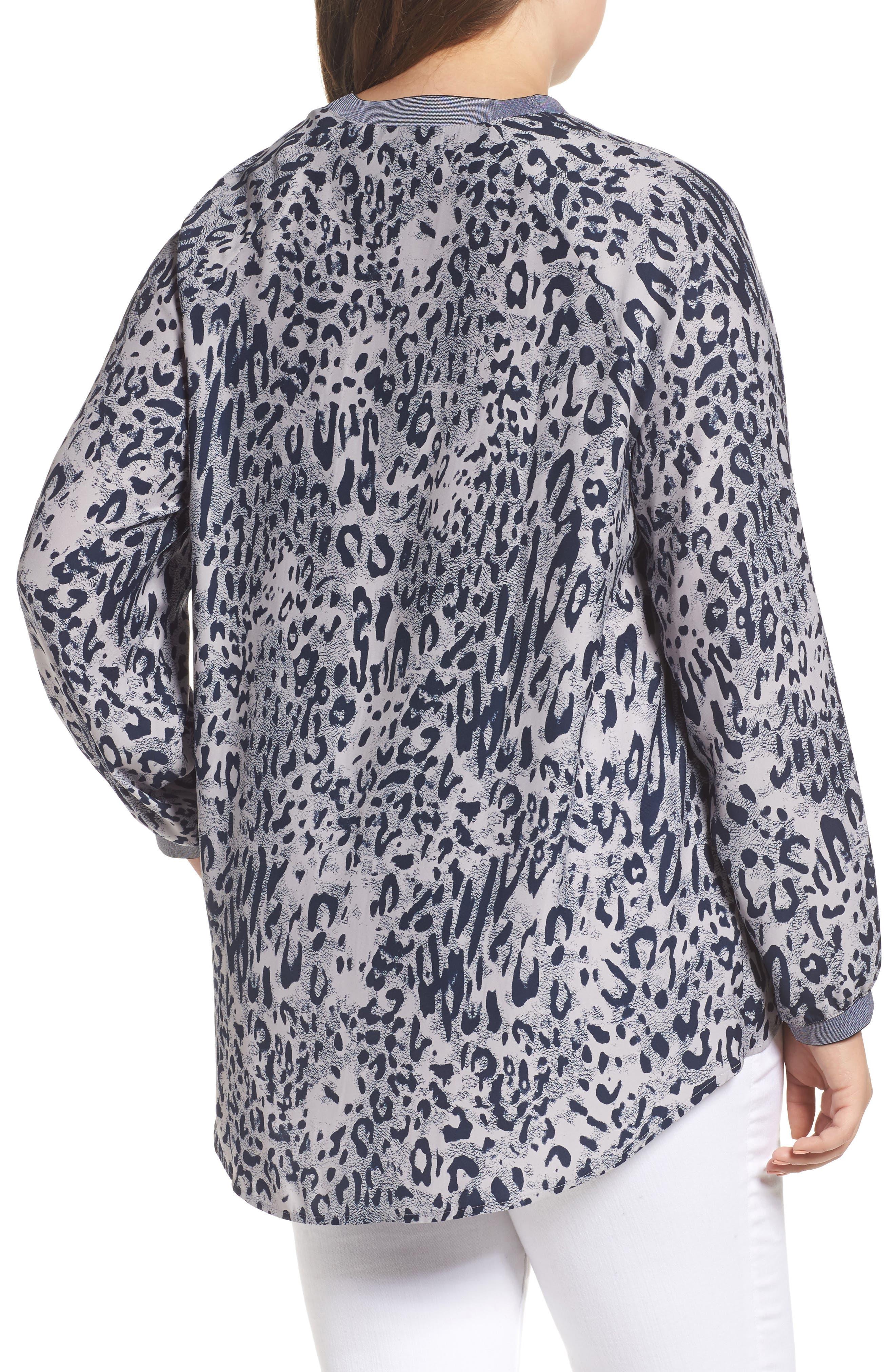 Leopard Print Raglan Blouse,                             Alternate thumbnail 2, color,                             Abstract Leopard/ Blue Trim