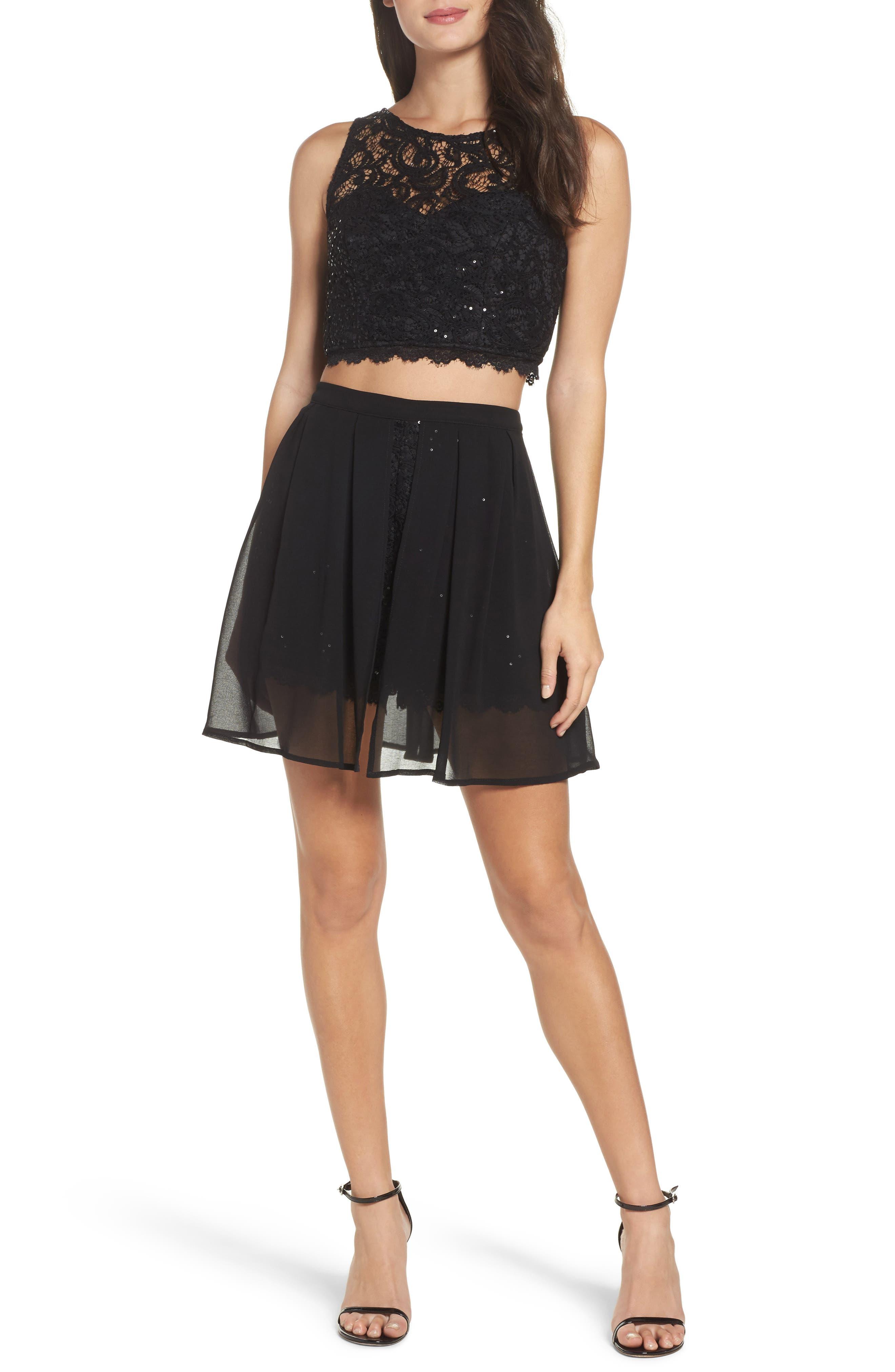 Sequin Lace Two-Piece Romper,                         Main,                         color, Black