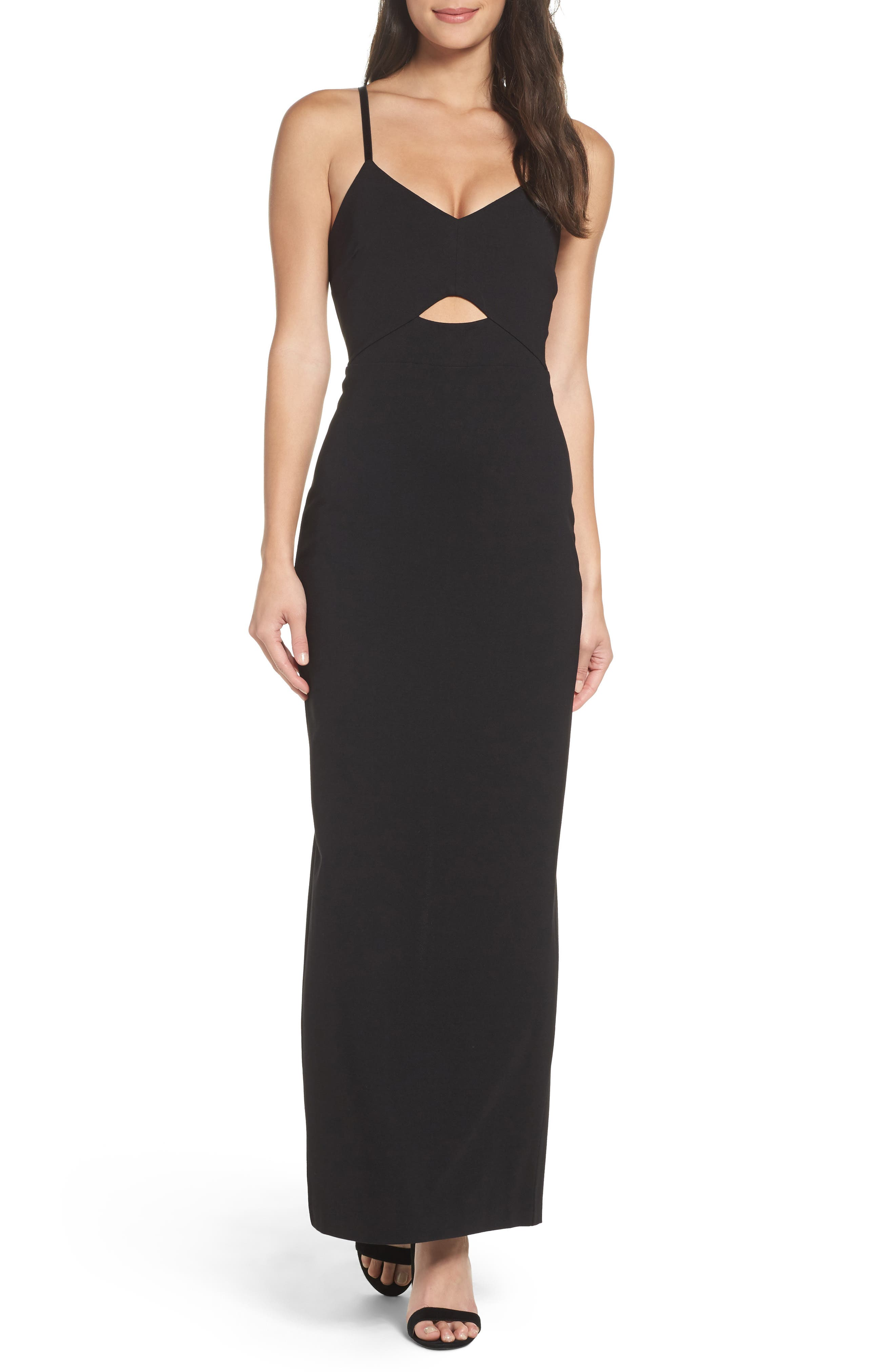 Step & Repeat Cutout Gown,                         Main,                         color, Black