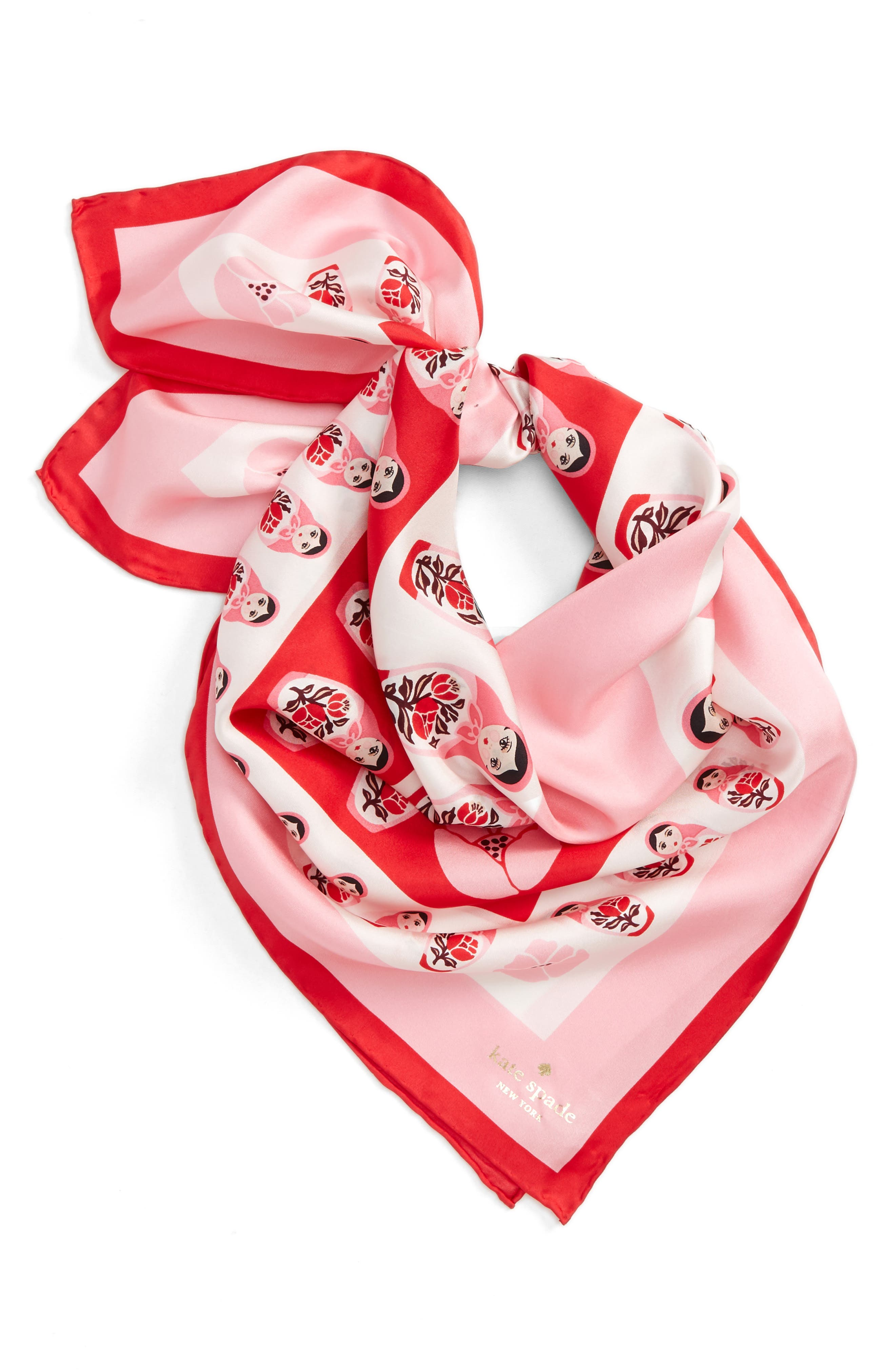 nesting dolls silk scarf,                         Main,                         color, Charm Red