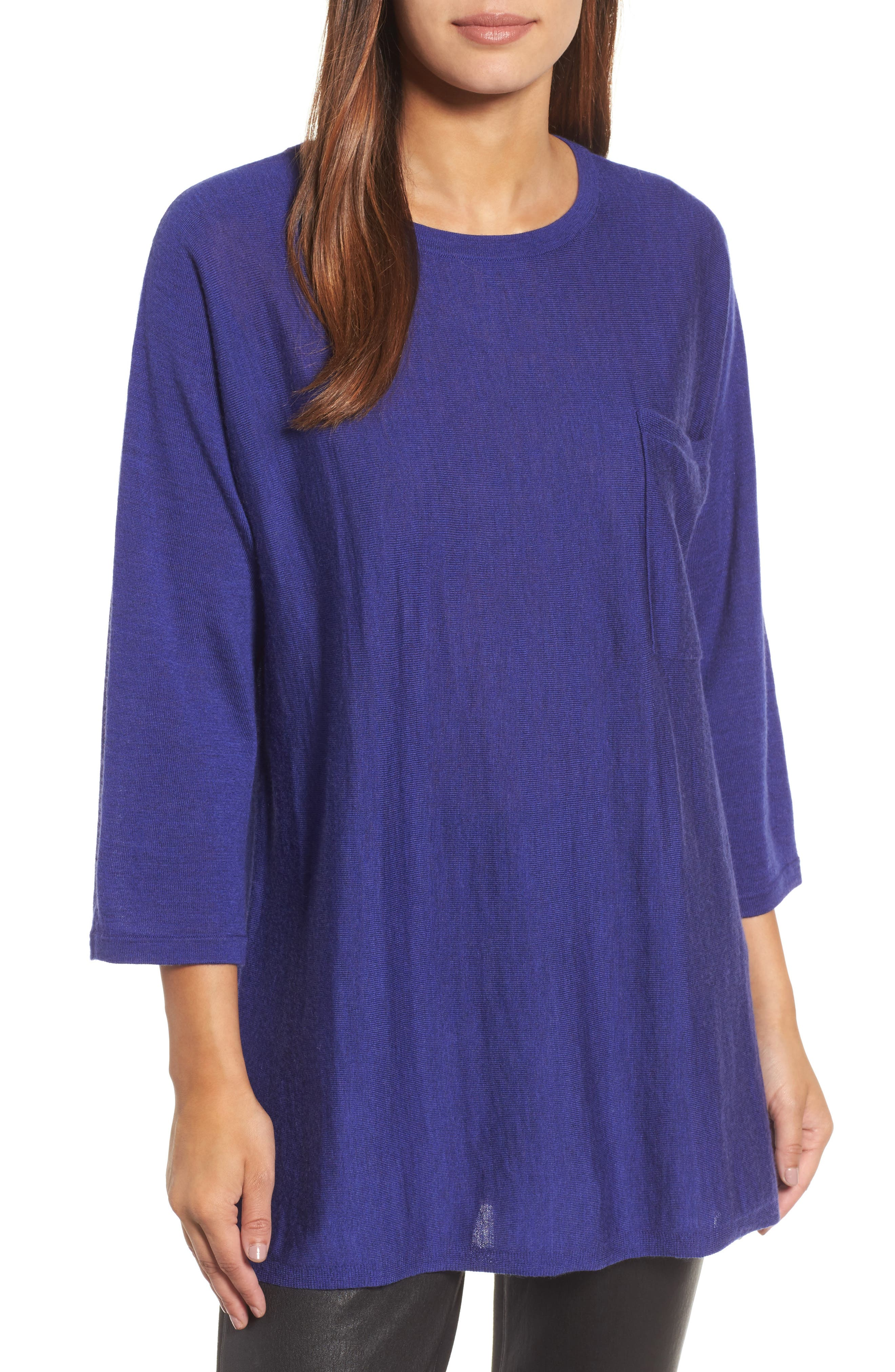 Alternate Image 1 Selected - Eileen Fisher Lightweight Merino Wool Sweater