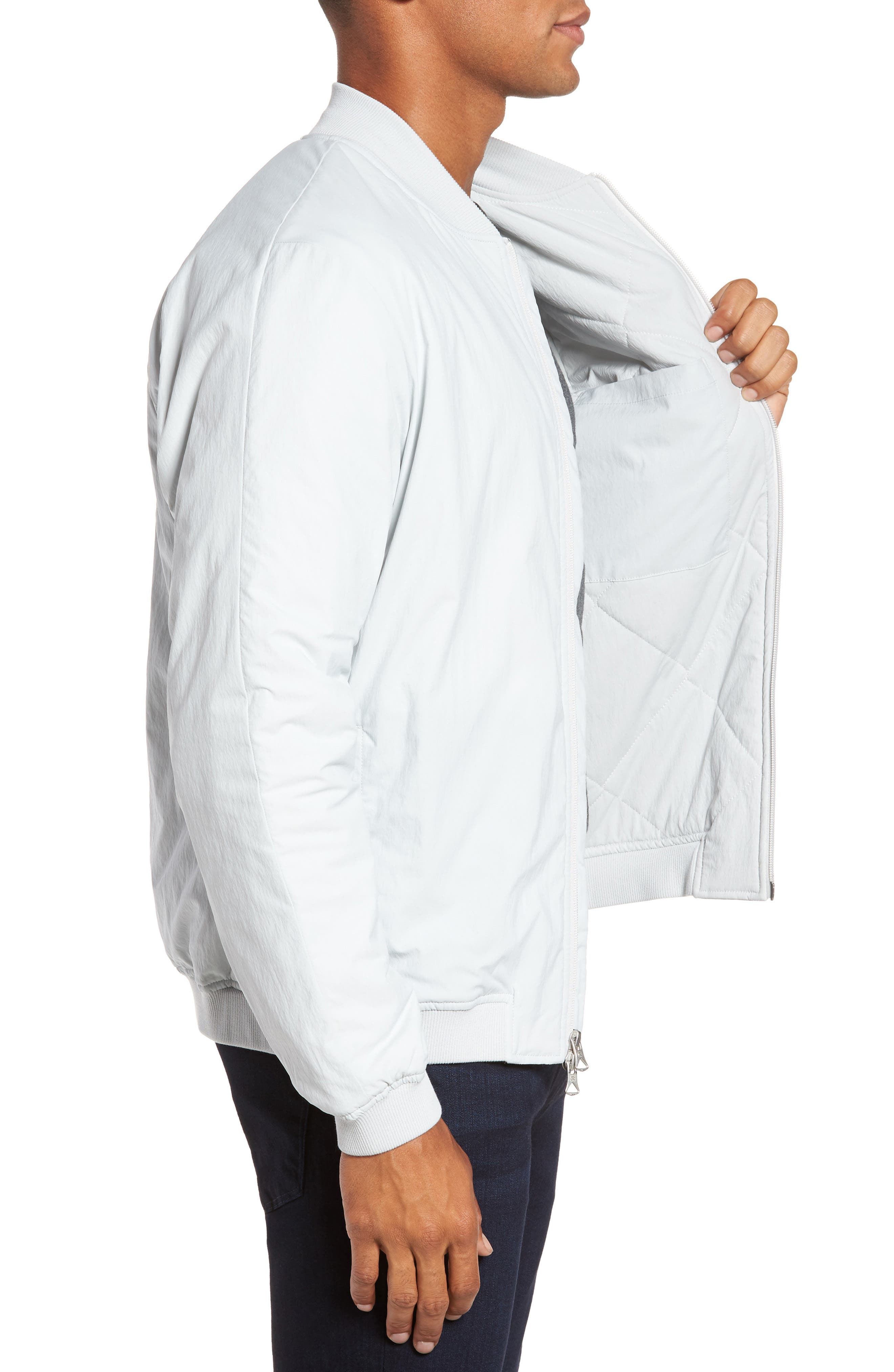 Insulated Bomber Jacket,                             Alternate thumbnail 3, color,                             Sky Grey