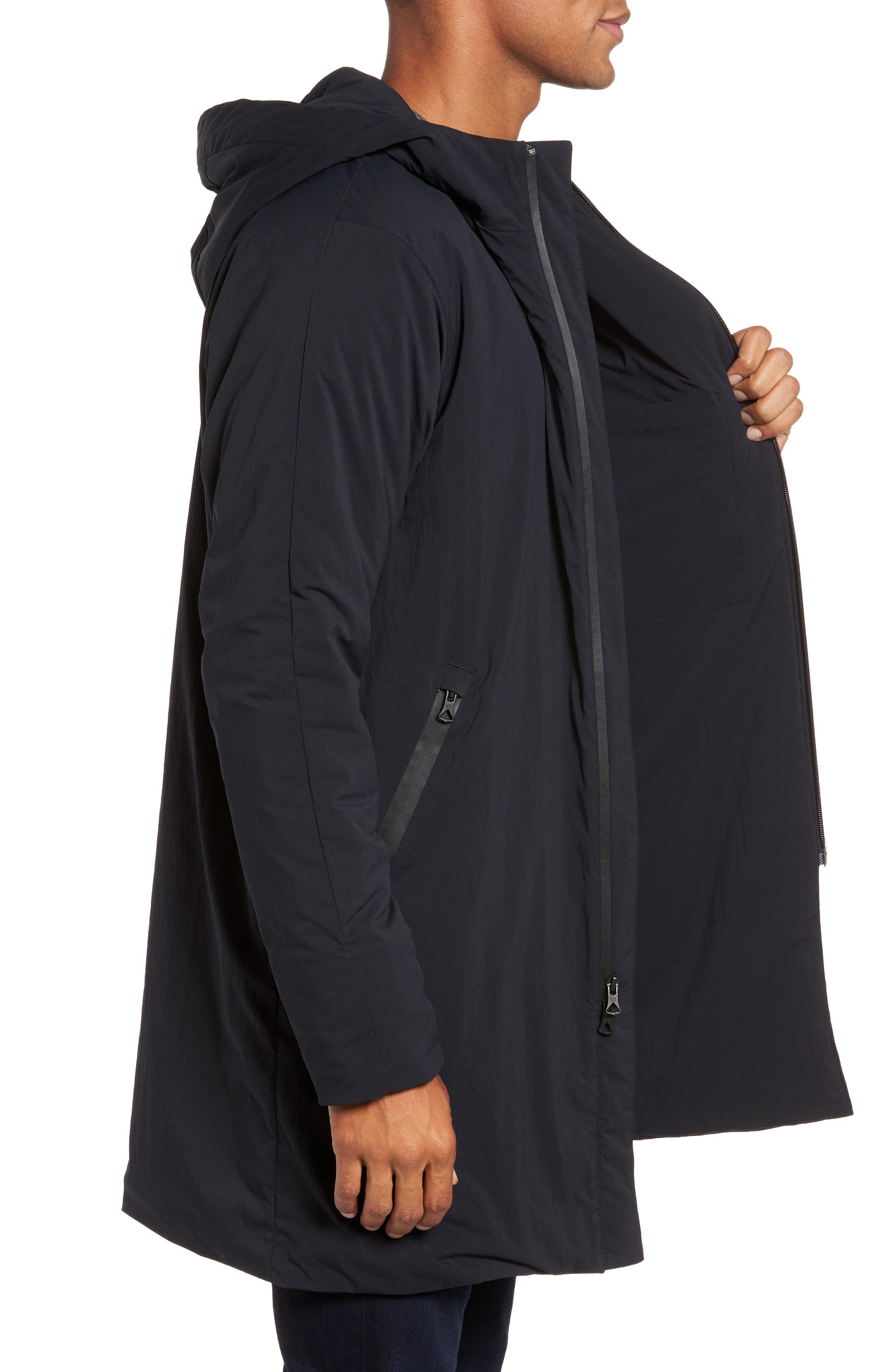 Insulated Trim Sideline Jacket,                             Alternate thumbnail 3, color,                             Black