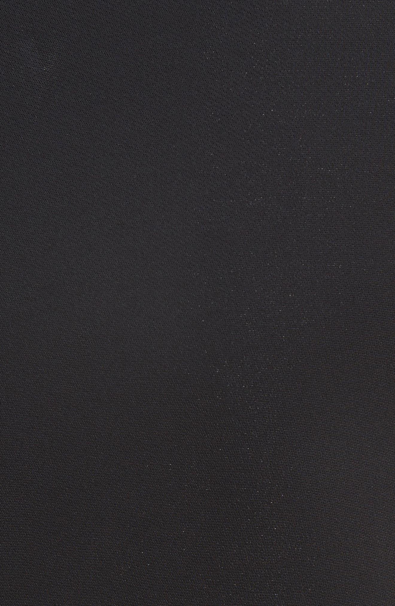 Lace Hem Midi Dress,                             Alternate thumbnail 4, color,                             Black