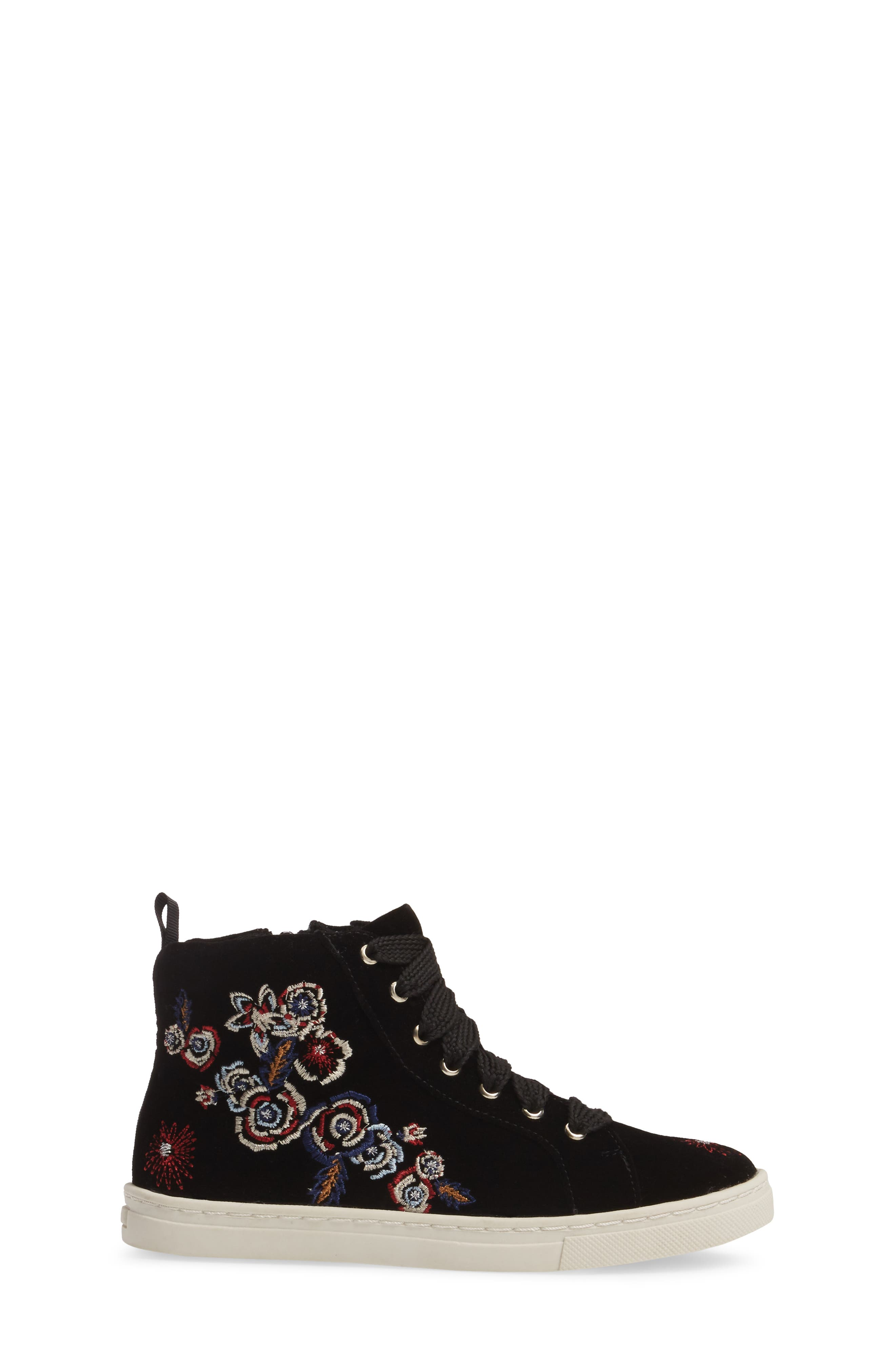 Zowen Embroidered High Top Sneaker,                             Alternate thumbnail 3, color,                             Black Multi Floral