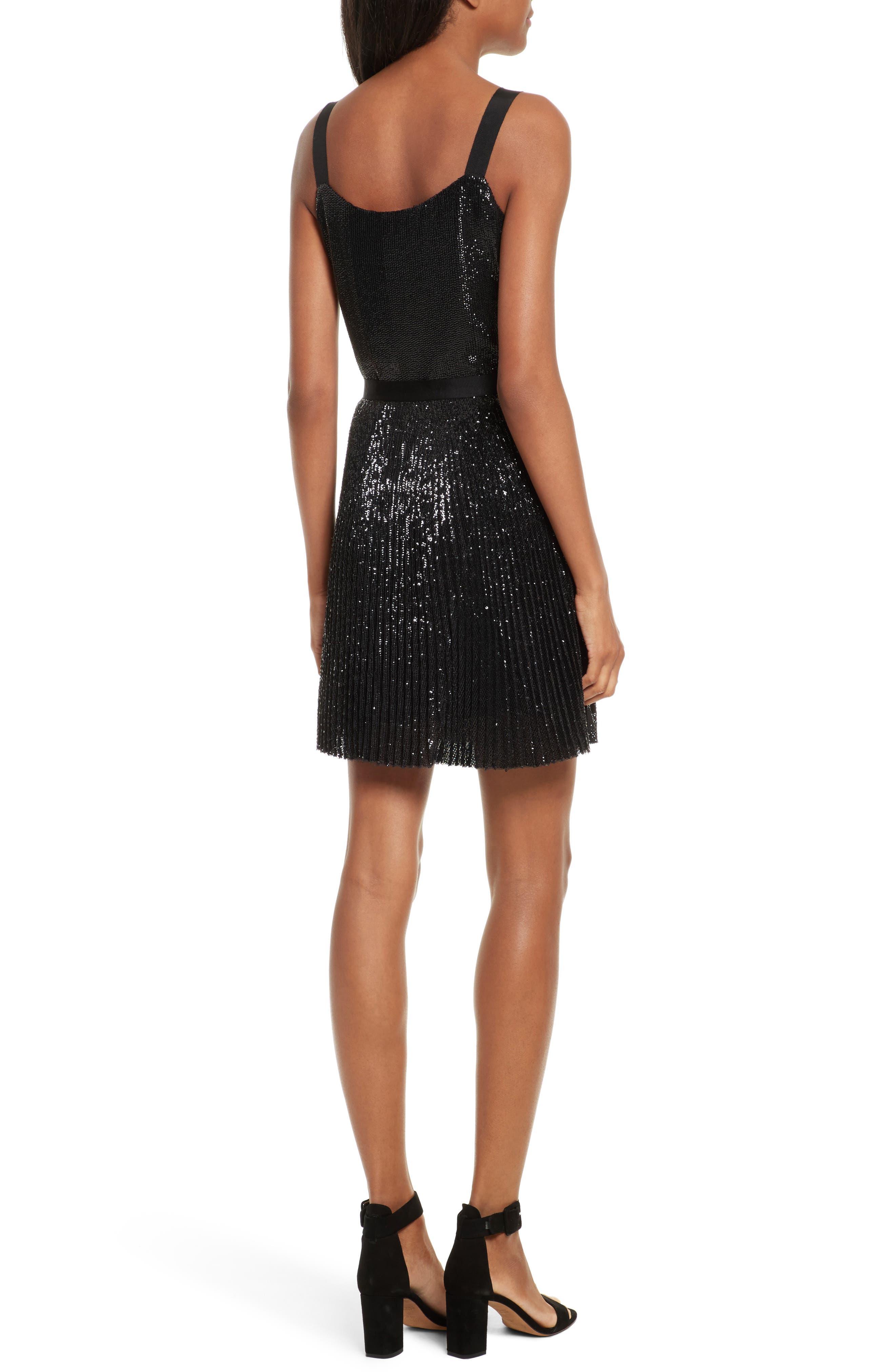 Itara Sequin Mesh Dress,                             Alternate thumbnail 2, color,                             Caviar