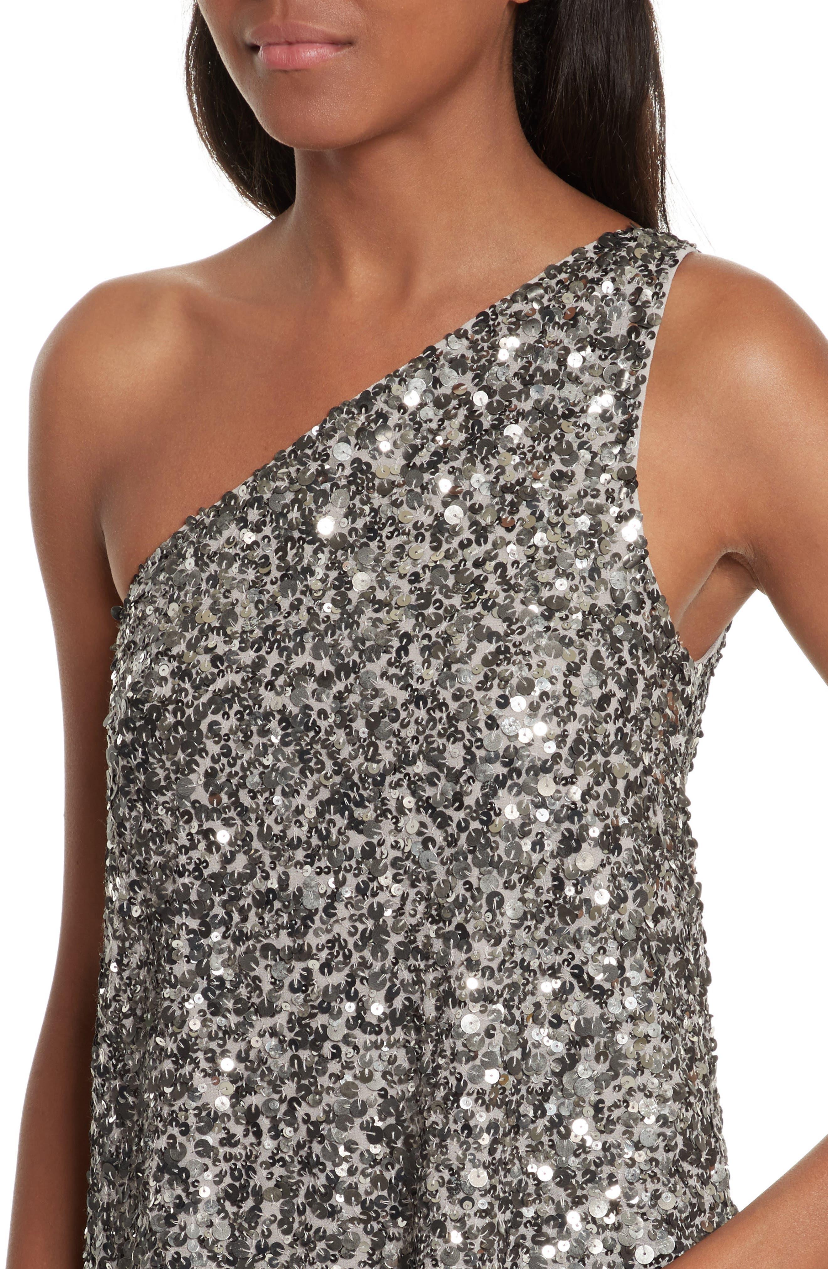 Hedra One-Shoulder Sequin Top,                             Alternate thumbnail 4, color,                             Vintage Silver