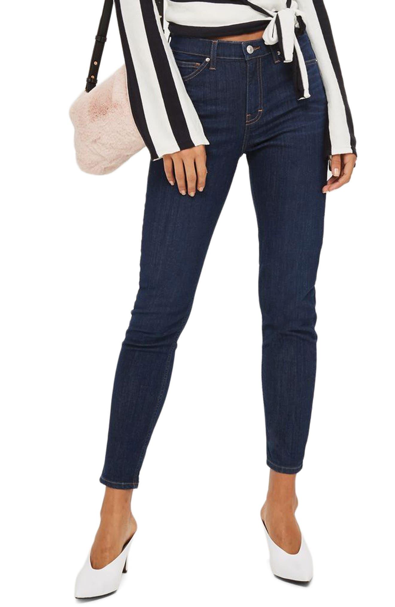 Jamie High Waist Ankle Skinny Jeans,                         Main,                         color, Dark Denim