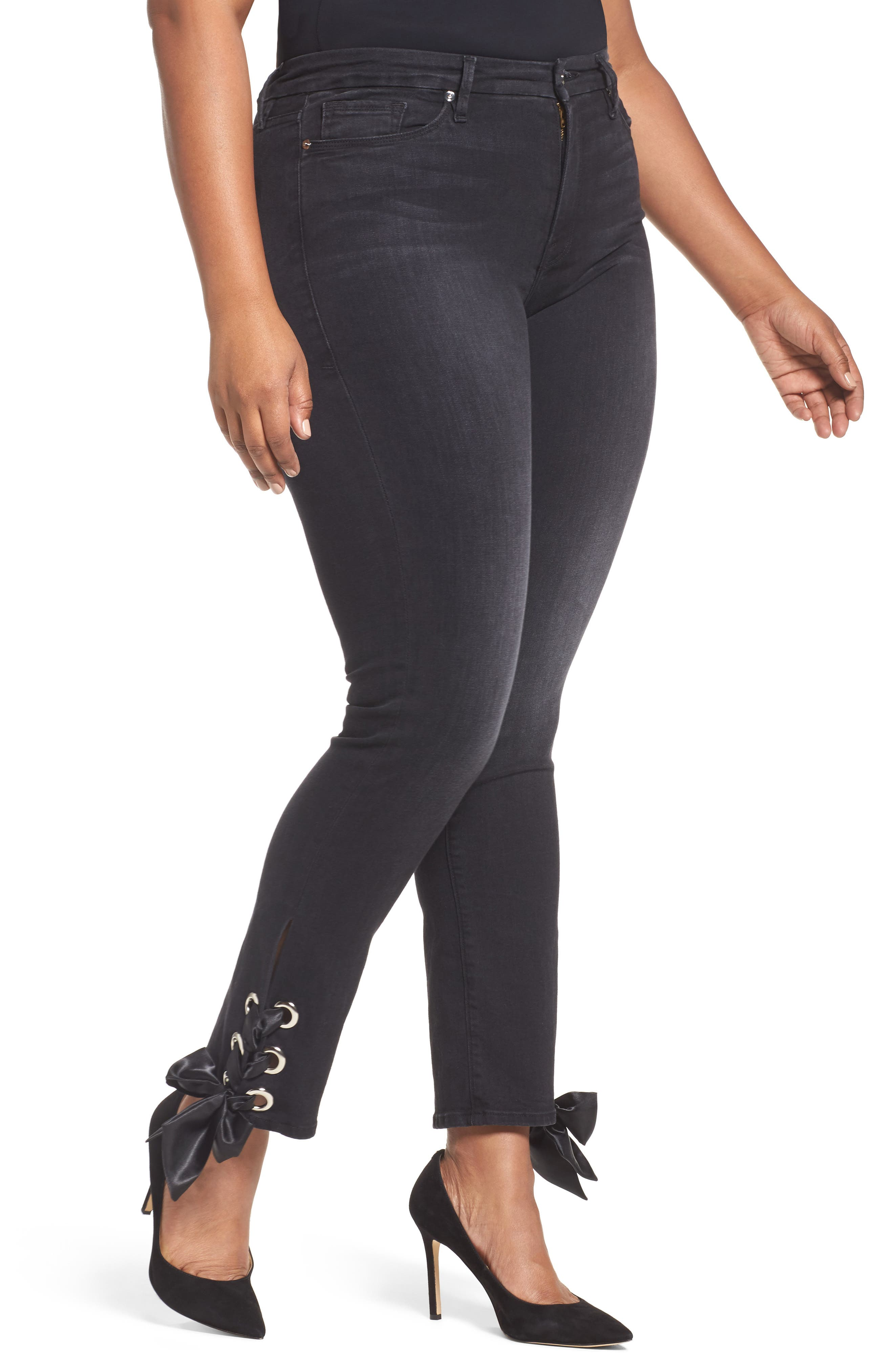 Alternate Image 5  - Good American Good Straight Ankle Lace Skinny Jeans (Black 010) (Extended Sizes)