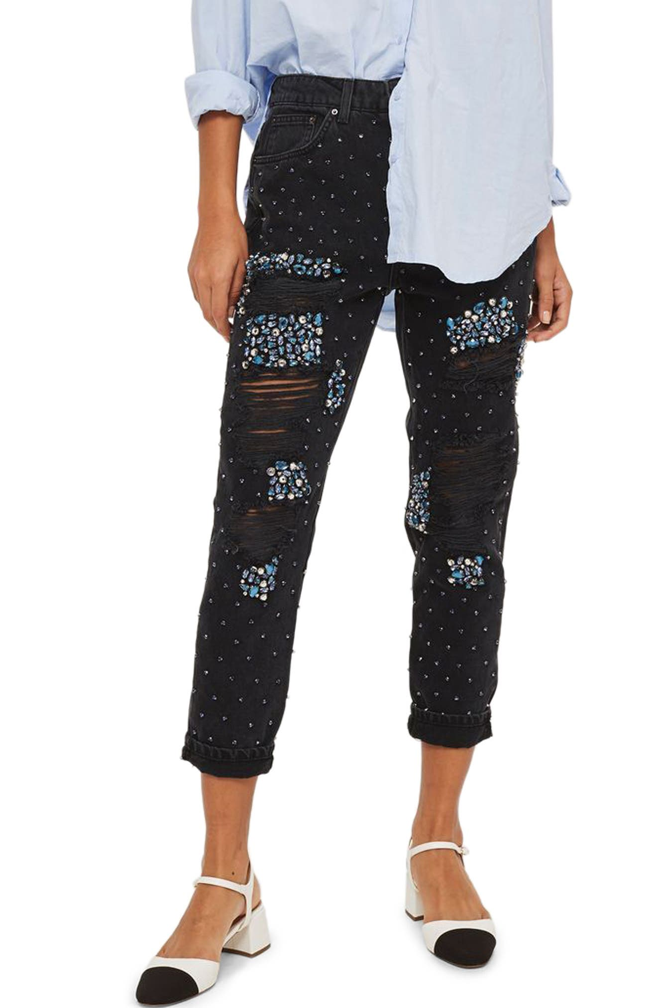 Limited Edition Gem Super Rip Mom Jeans,                             Main thumbnail 1, color,                             Washed Black