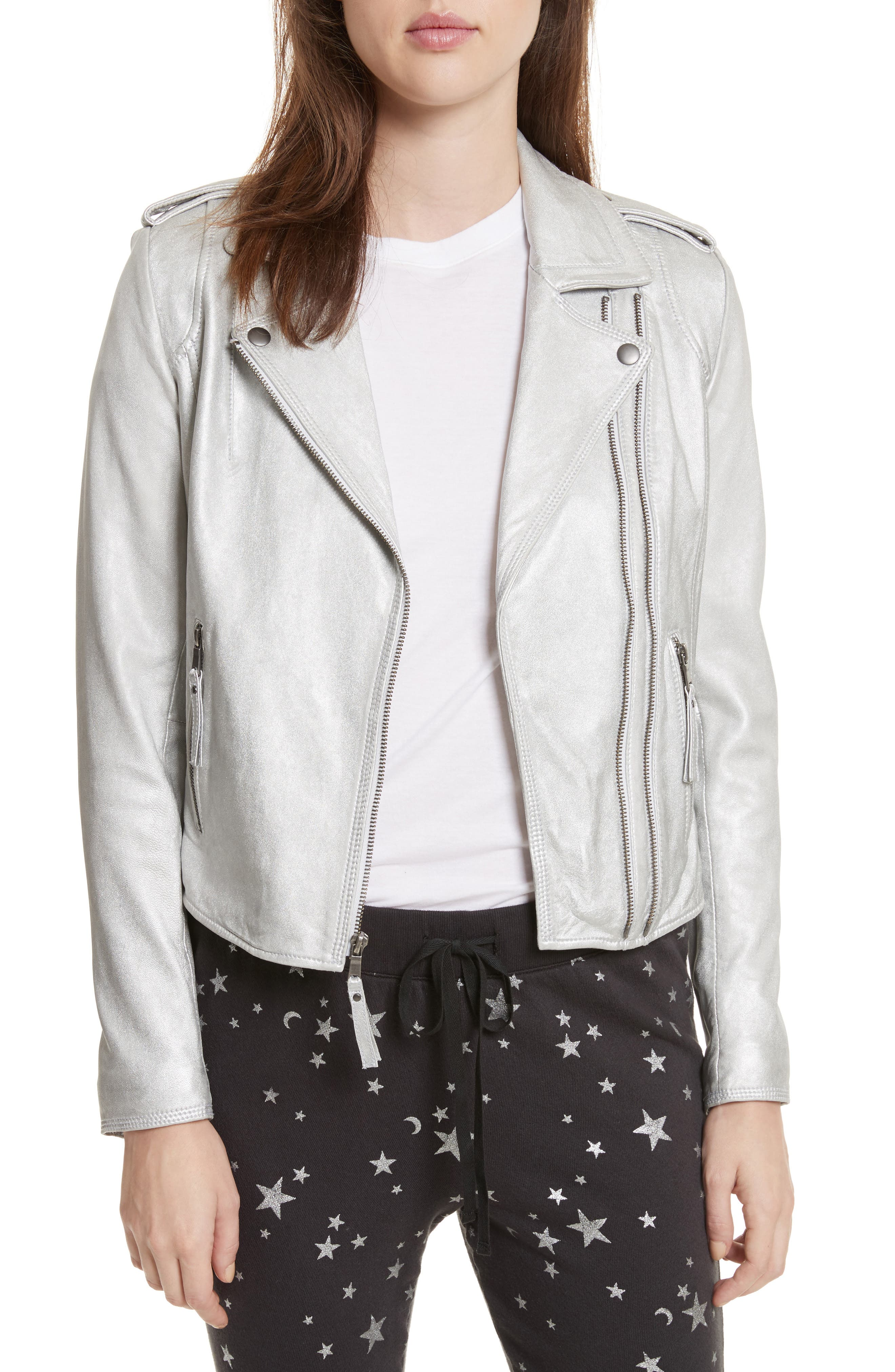 Leolani Leather Jacket,                         Main,                         color, Silver
