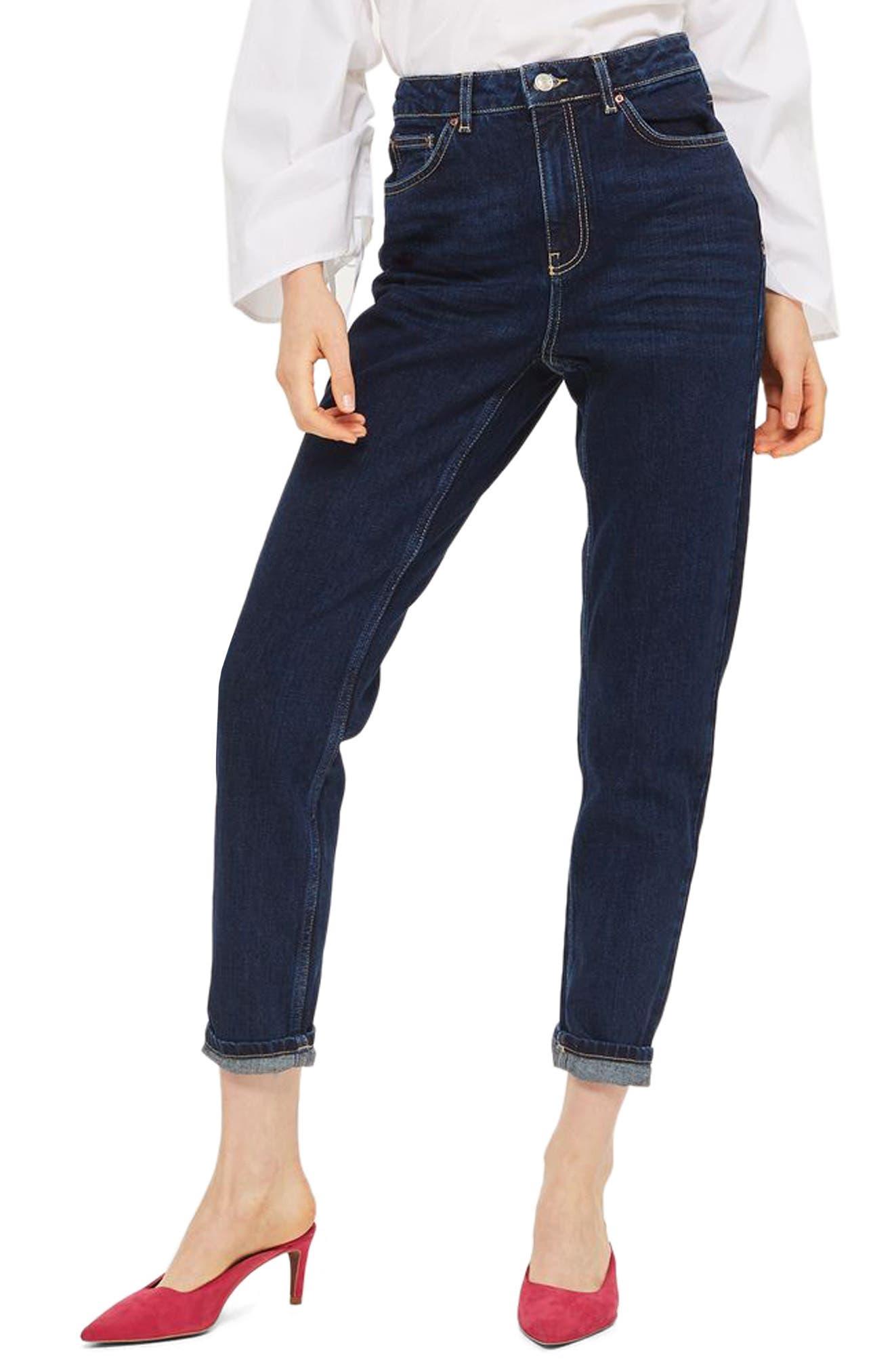 Mom Jeans,                             Main thumbnail 1, color,                             Dark Denim