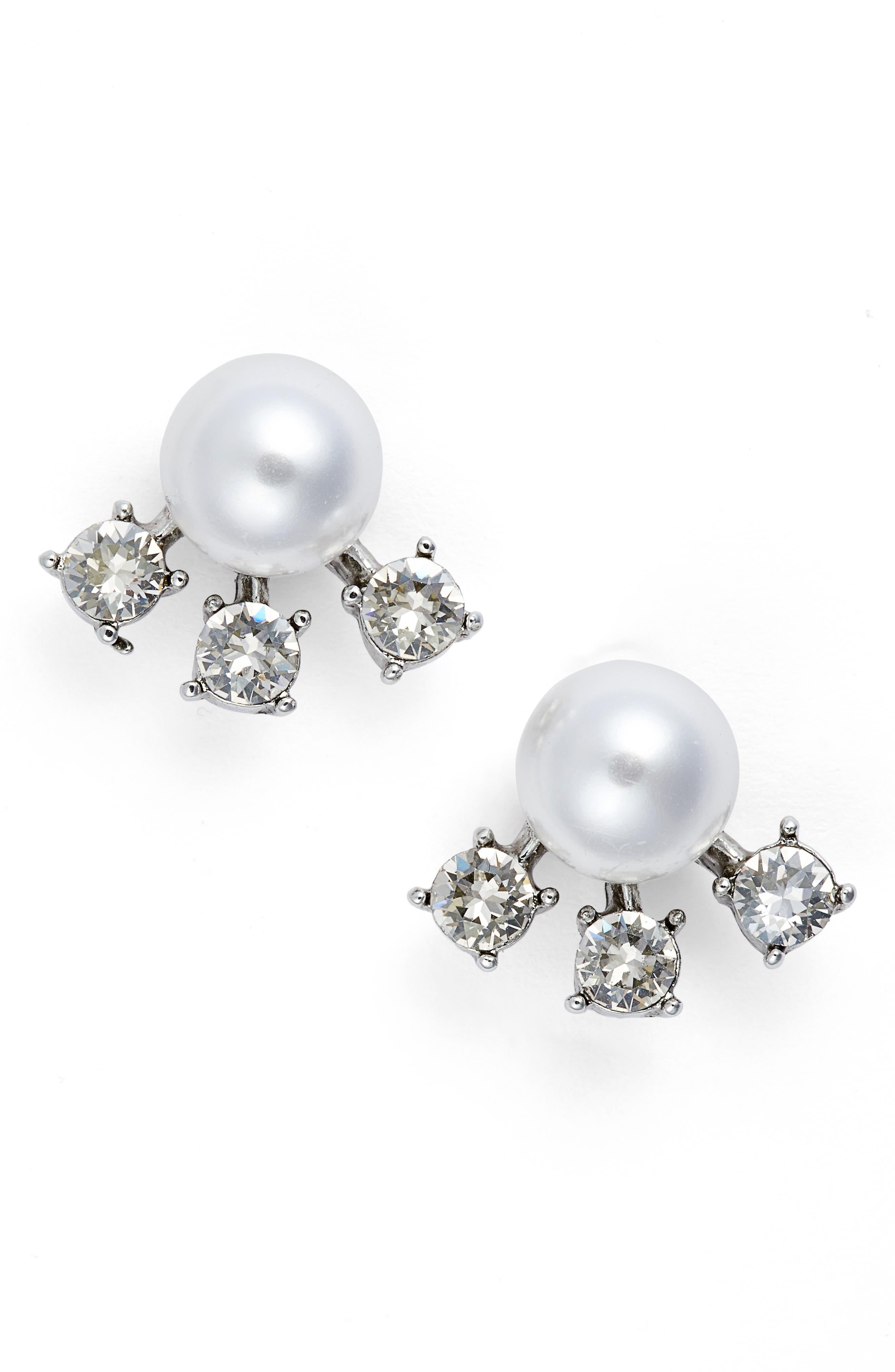 Simulated Pearl & Crystal Ear Jackets,                         Main,                         color, Crystal Shade / Silver