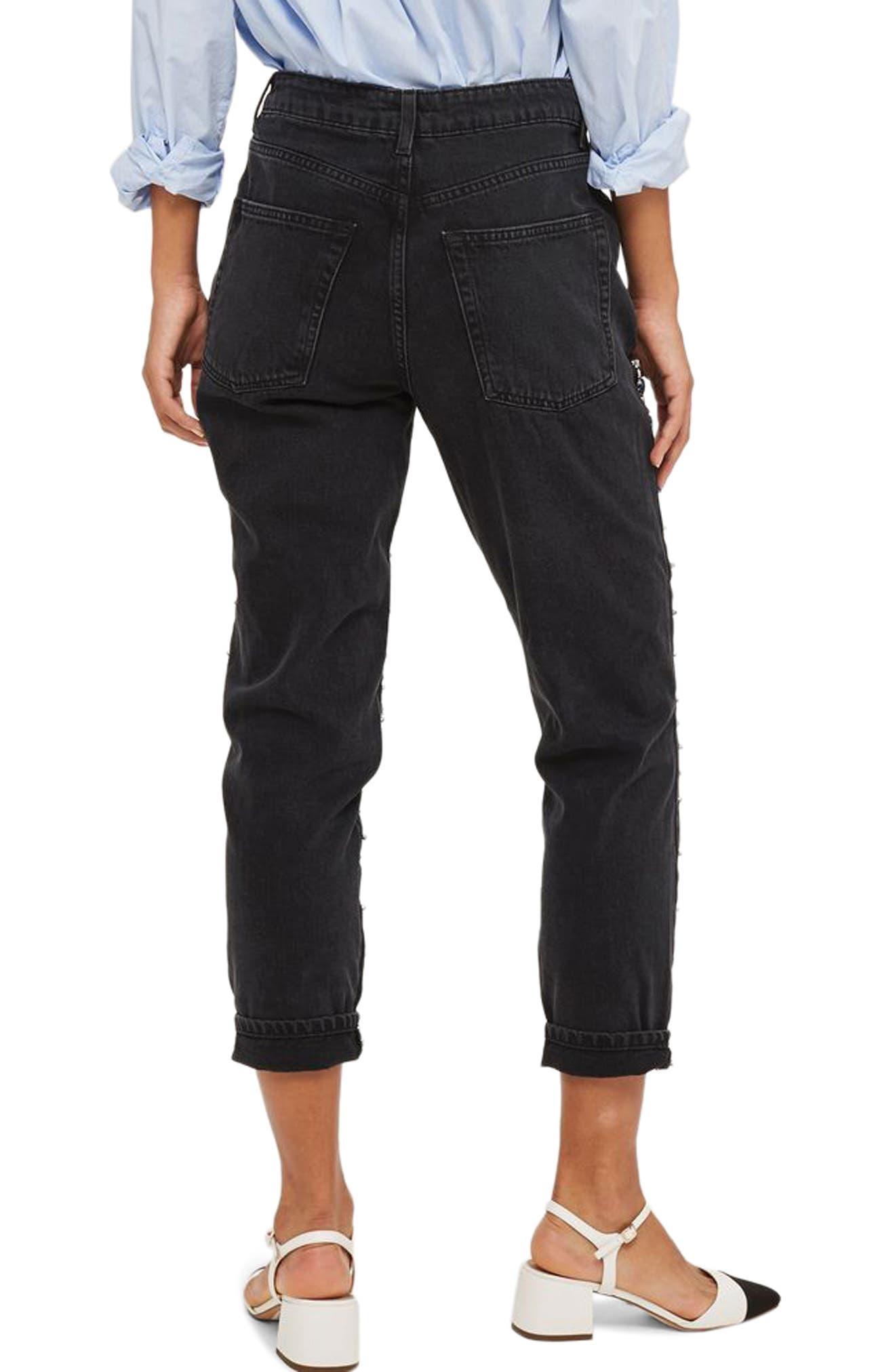 Limited Edition Gem Super Rip Mom Jeans,                             Alternate thumbnail 3, color,                             Washed Black