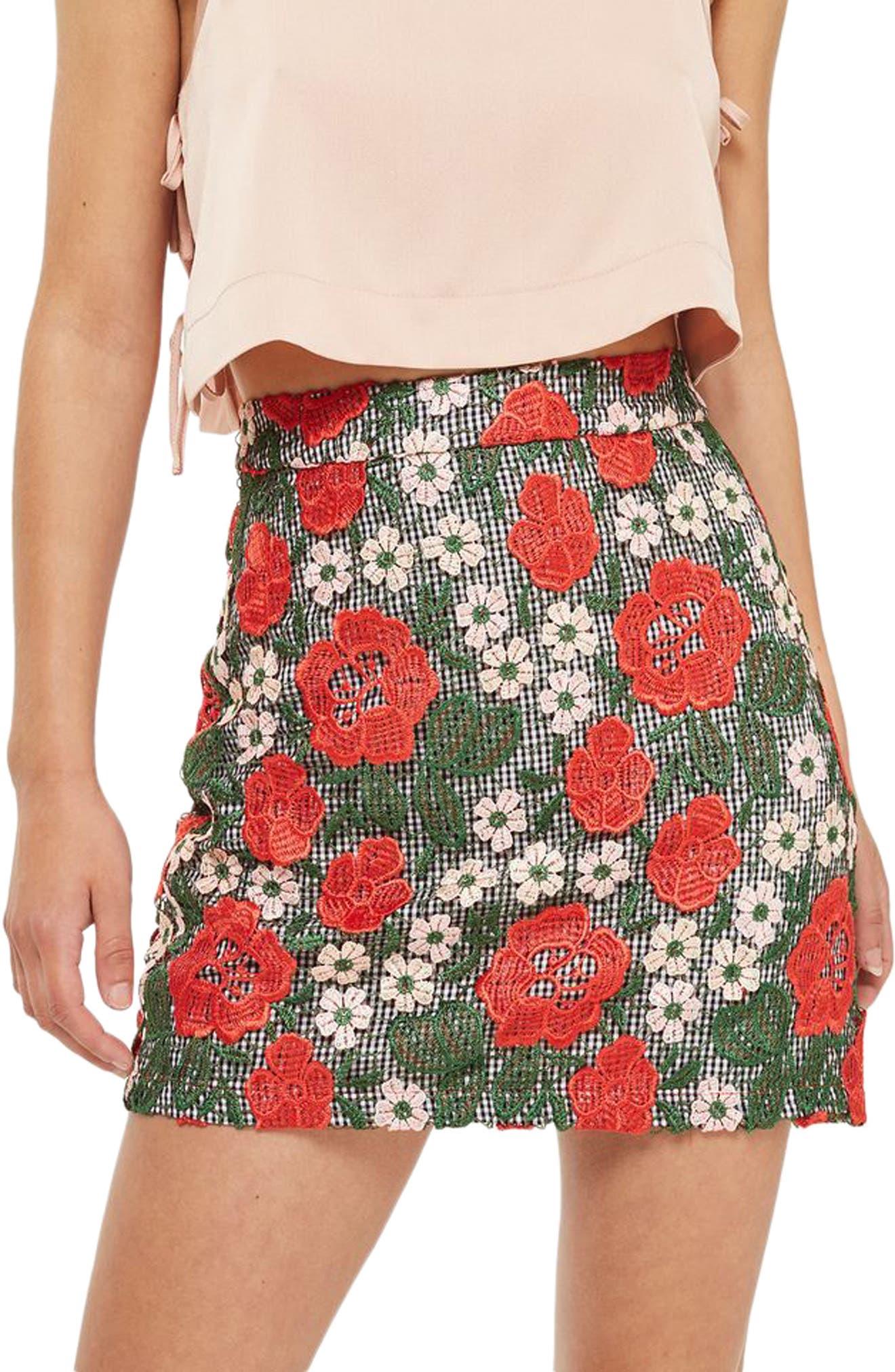 Topshop Rose Lace Gingham Miniskirt