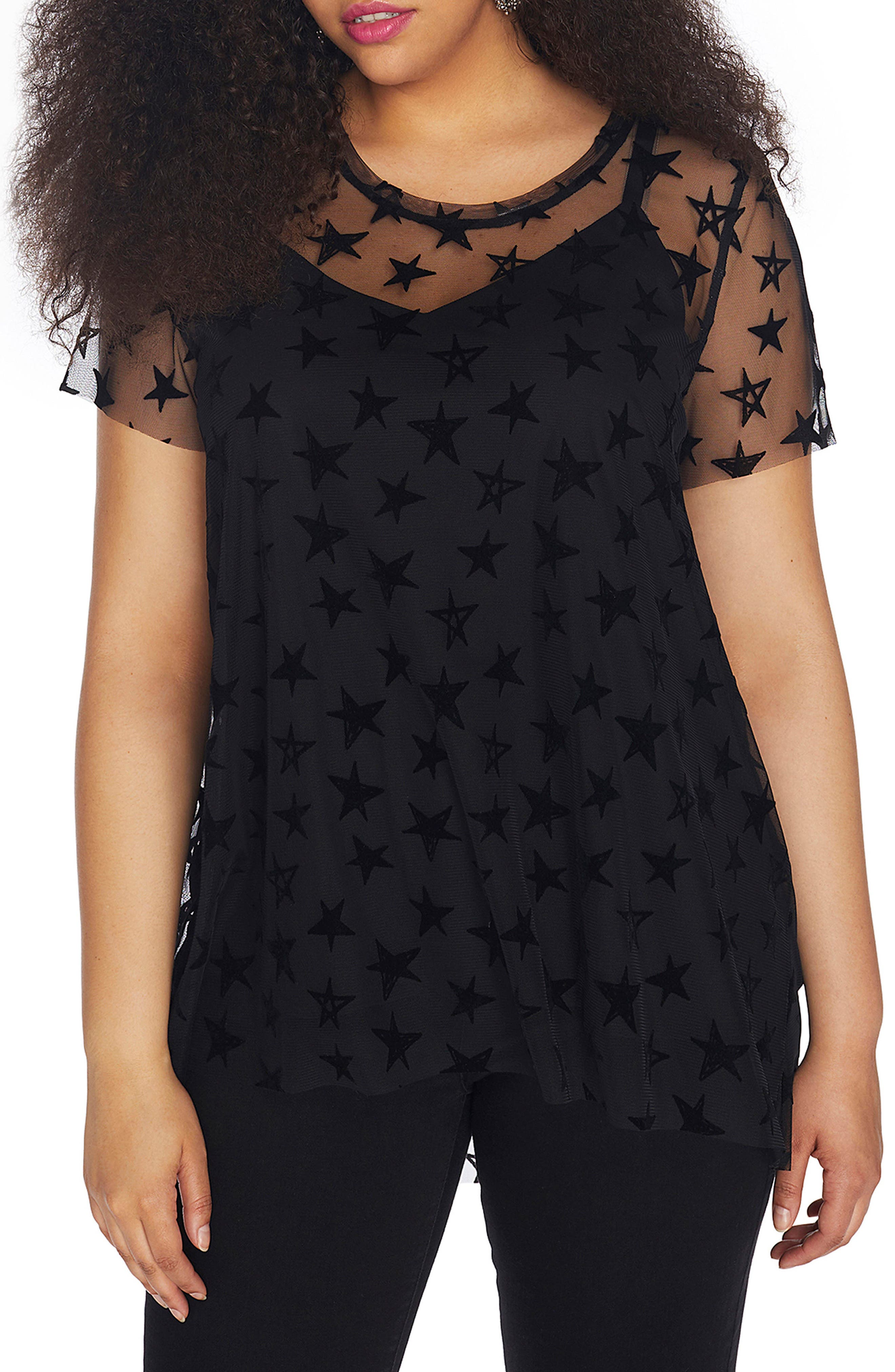 Star Print Mesh Overlay Top,                         Main,                         color, Black Beauty