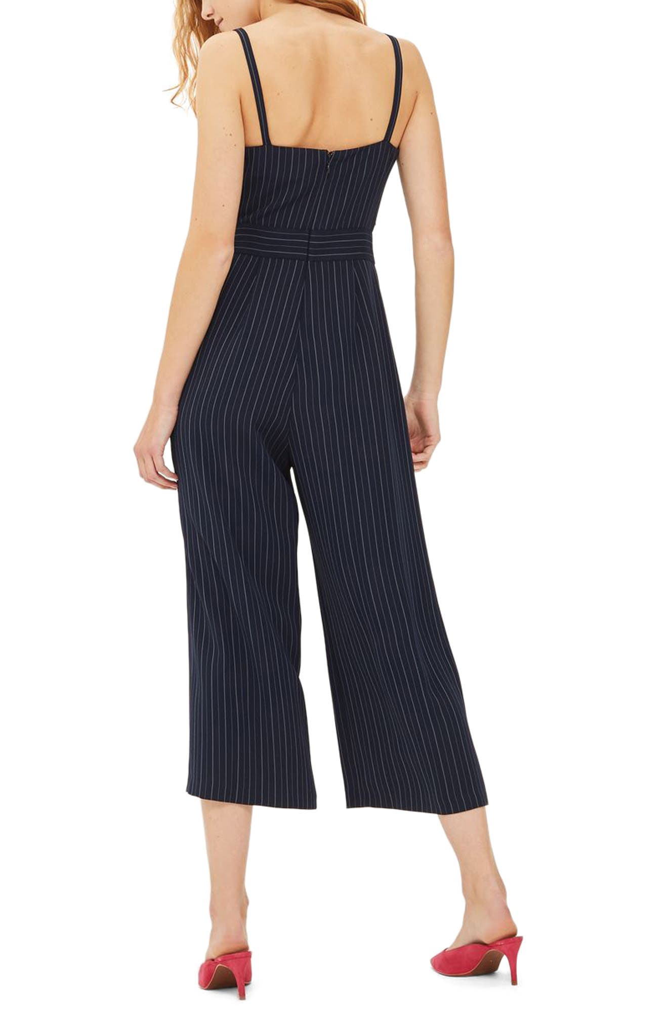 Pinstripe Tie Waist Jumpsuit,                             Alternate thumbnail 3, color,                             Navy Blue