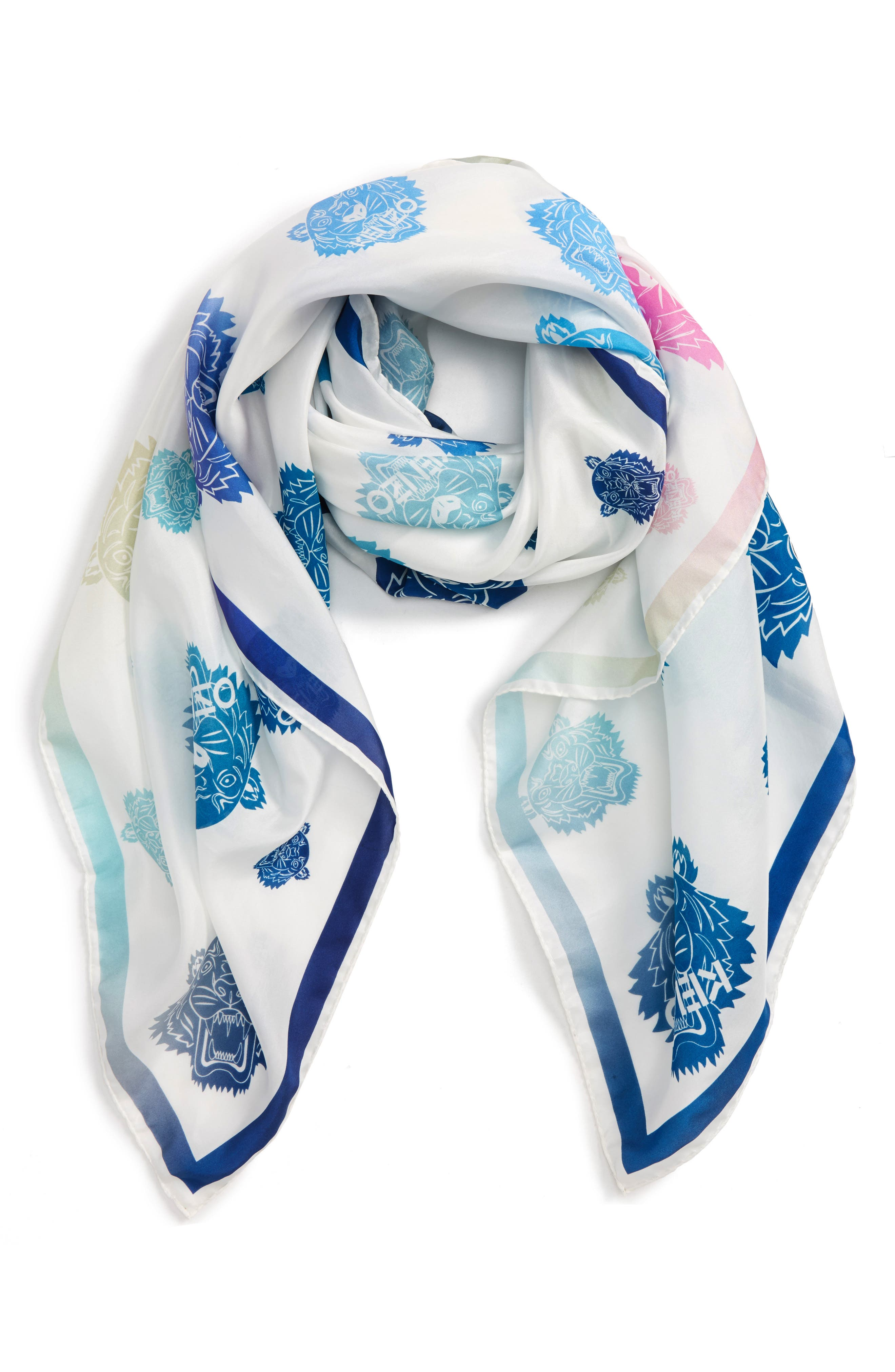 Rainbow Tiger Silk Scarf,                             Alternate thumbnail 2, color,                             White/ Multi