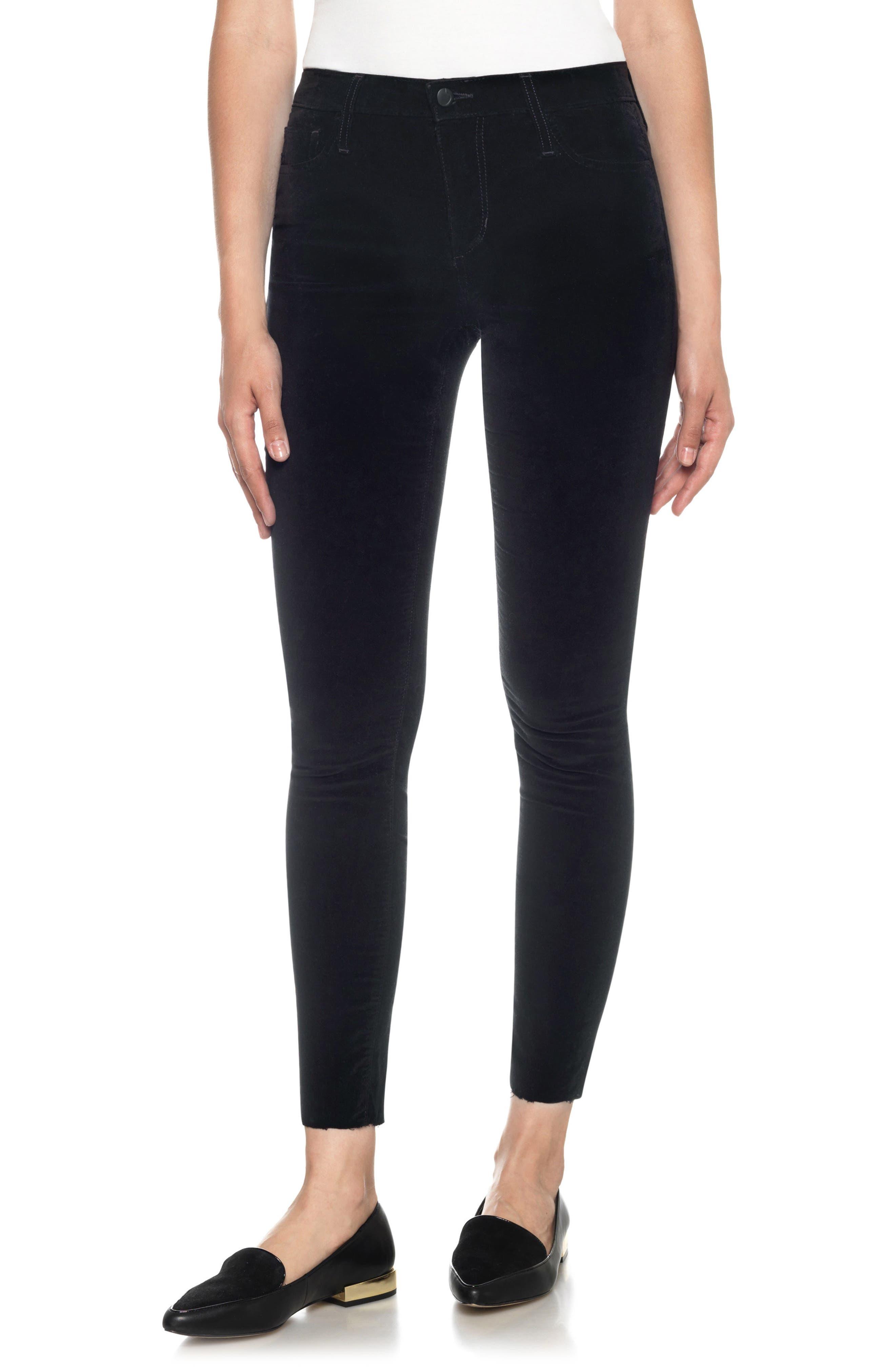 Icon Velvet Ankle Skinny Pants,                         Main,                         color, Black Cat