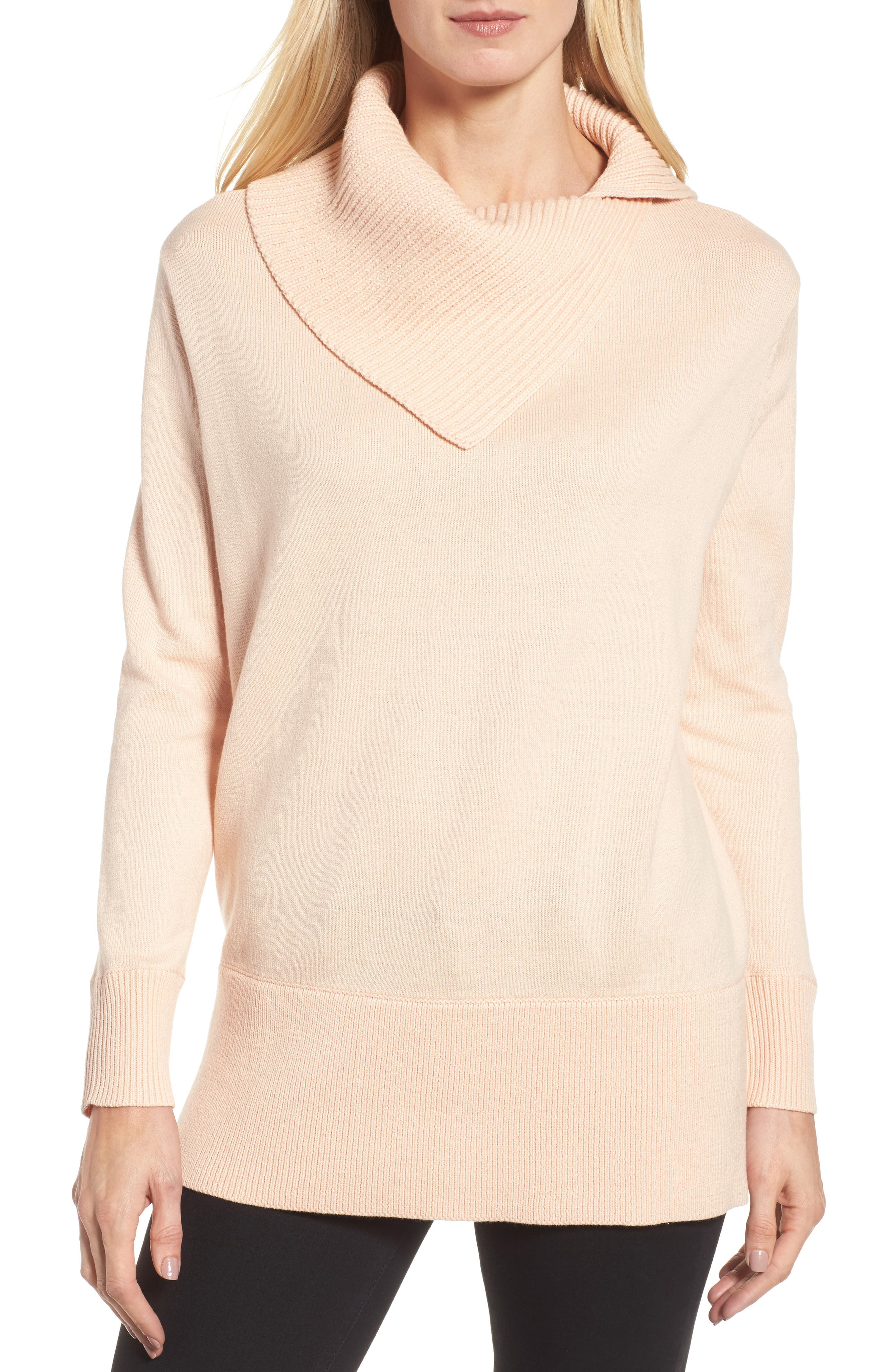 Cowl Neck Sweater,                             Main thumbnail 1, color,                             Blush