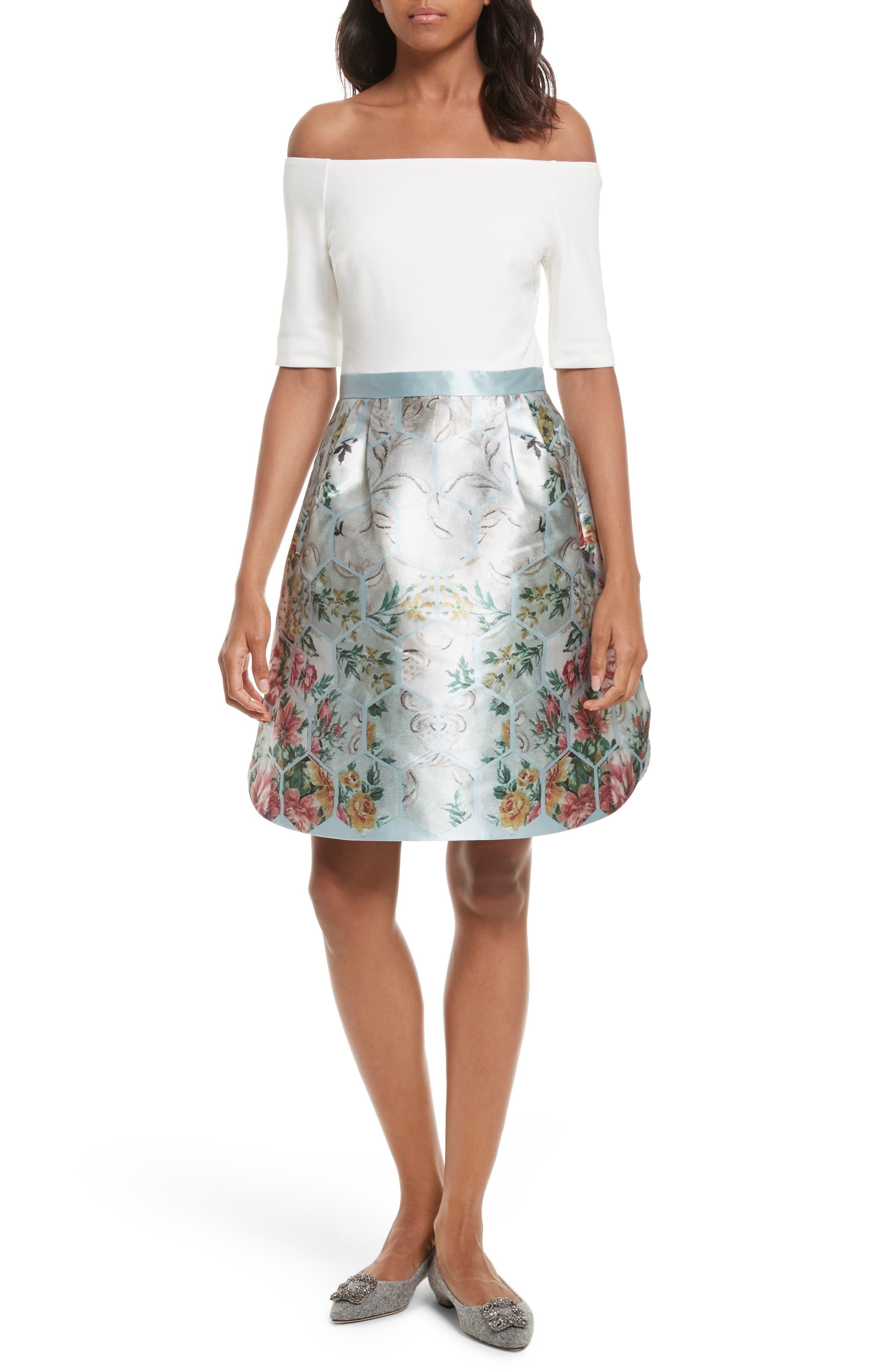 Dewrose Patchwork A-line Dress,                         Main,                         color, Pale Blue