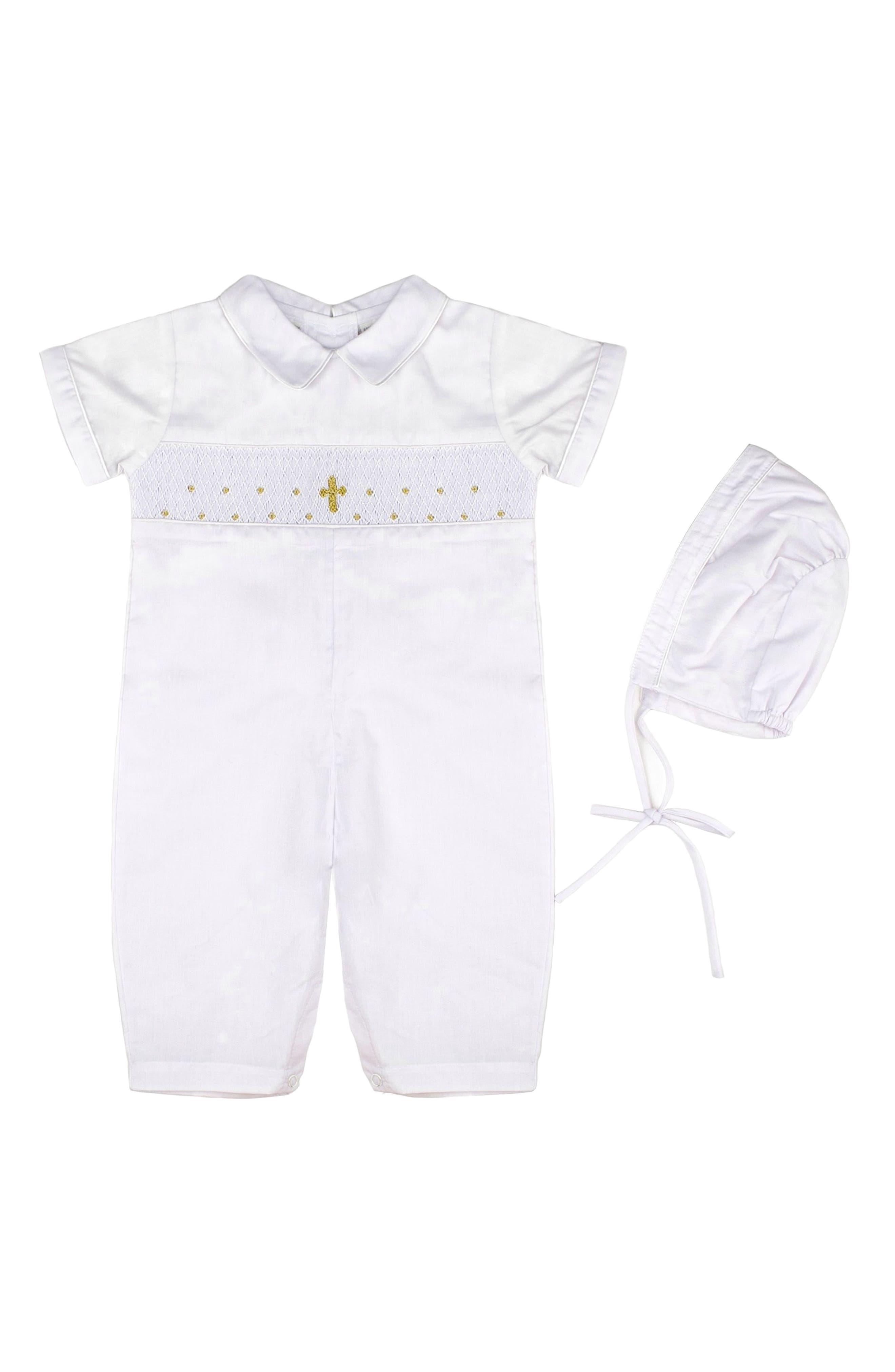 Christening Romper & Bonnet Set,                         Main,                         color, White