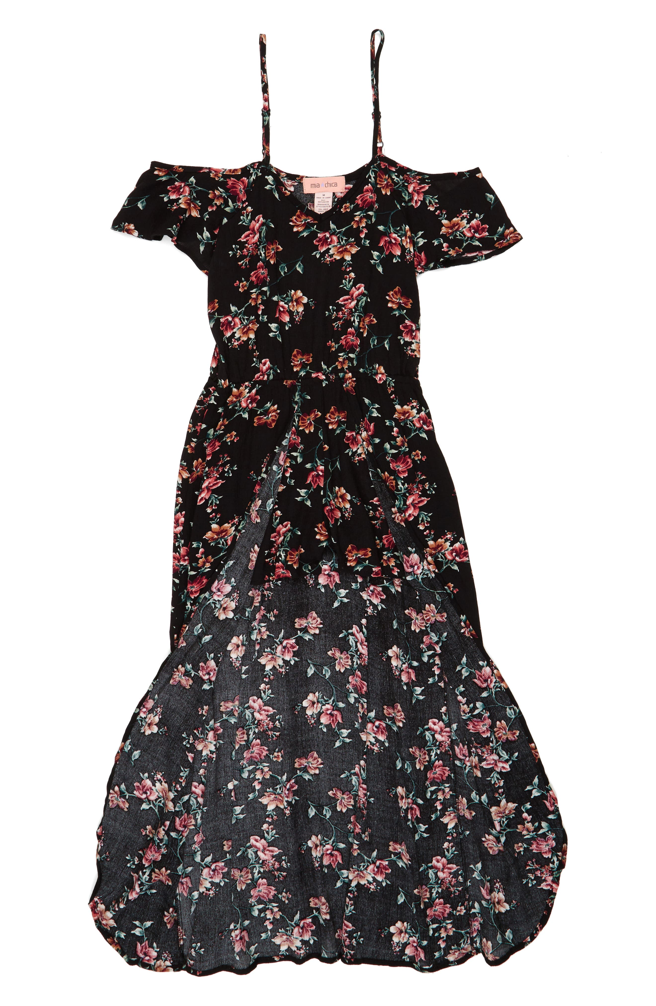 Alternate Image 1 Selected - Mia Chica Floral Print Maxi Romper (Big Girls)