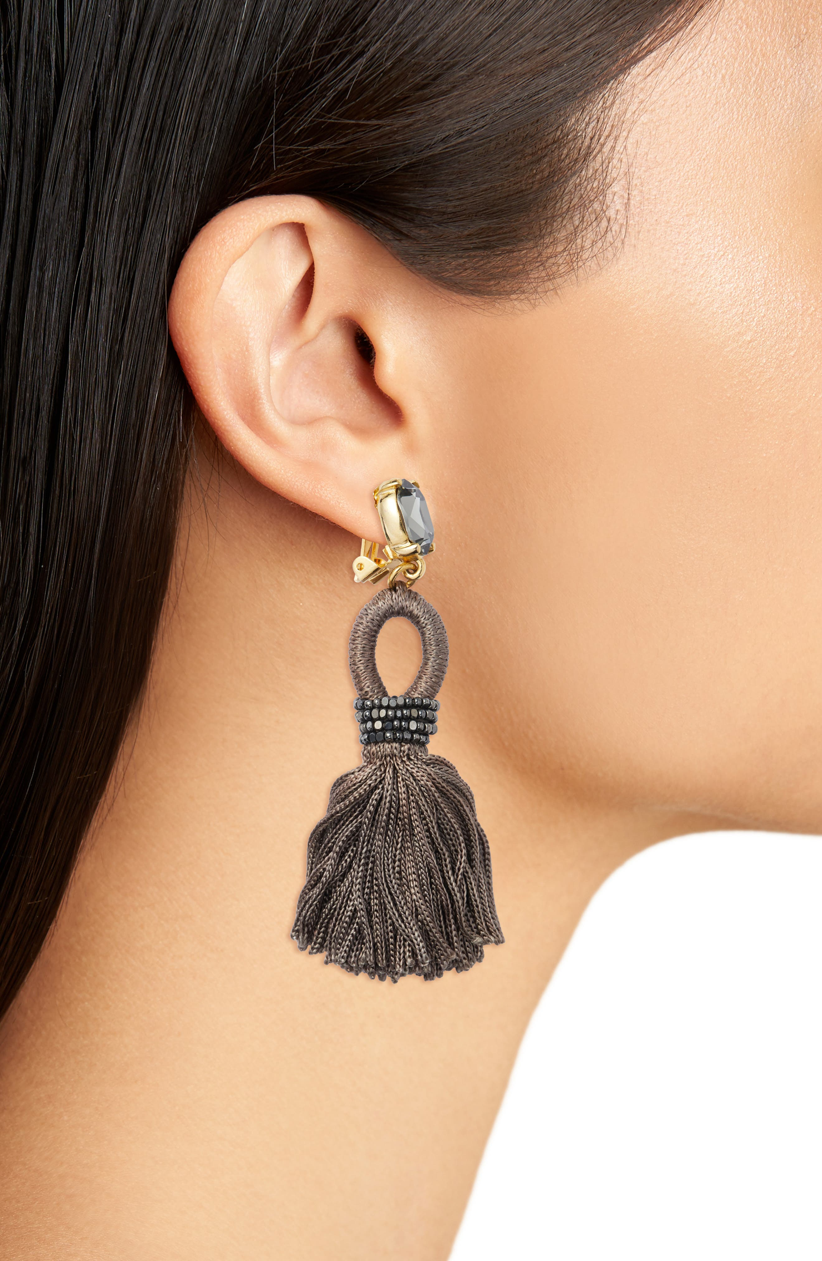 Silk Tassel Drop Earrings,                             Alternate thumbnail 2, color,                             Steel