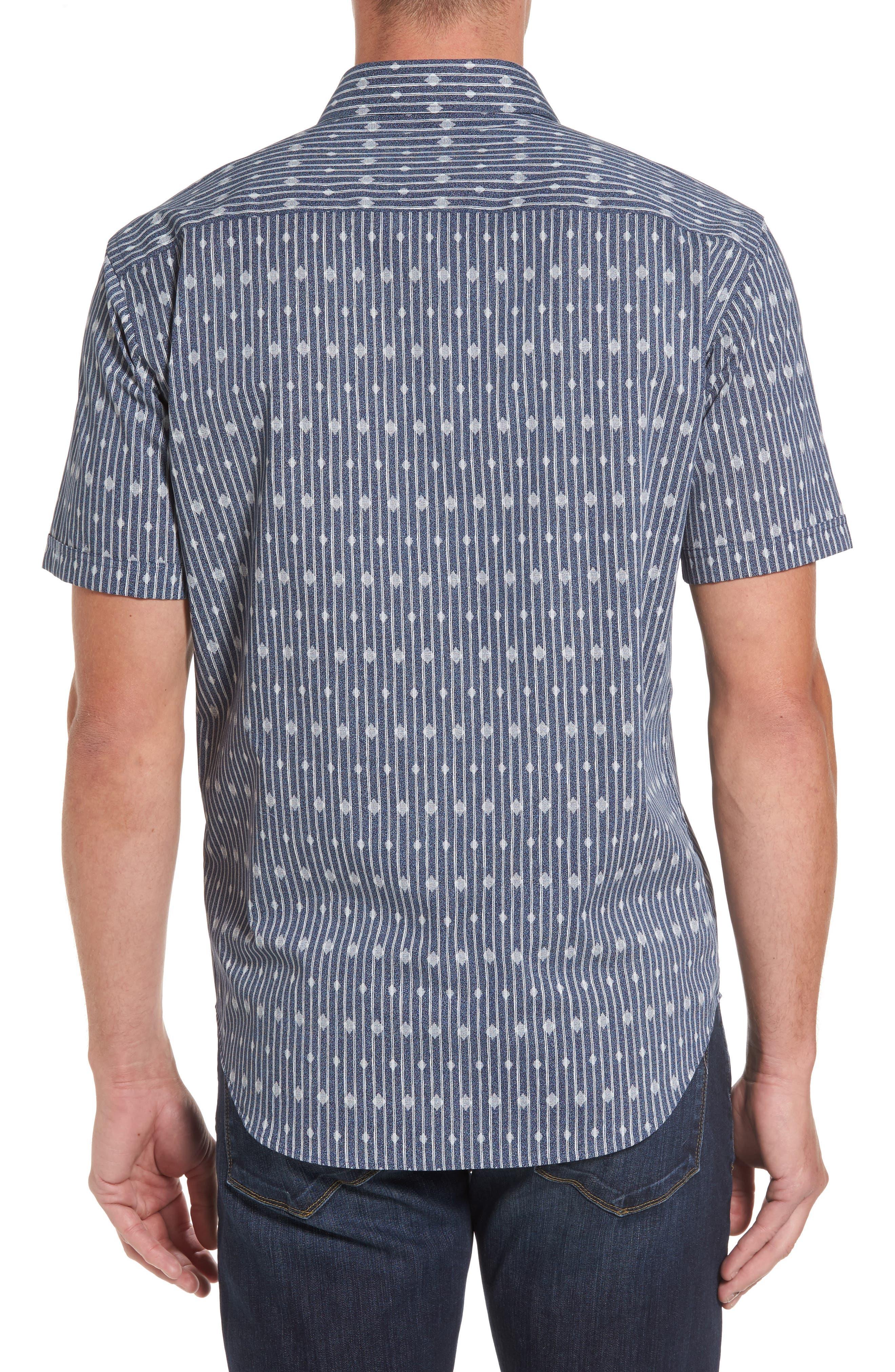 Alternate Image 2  - Bugatchi Shaped Fit Diamond Stripe Print Sport Shirt