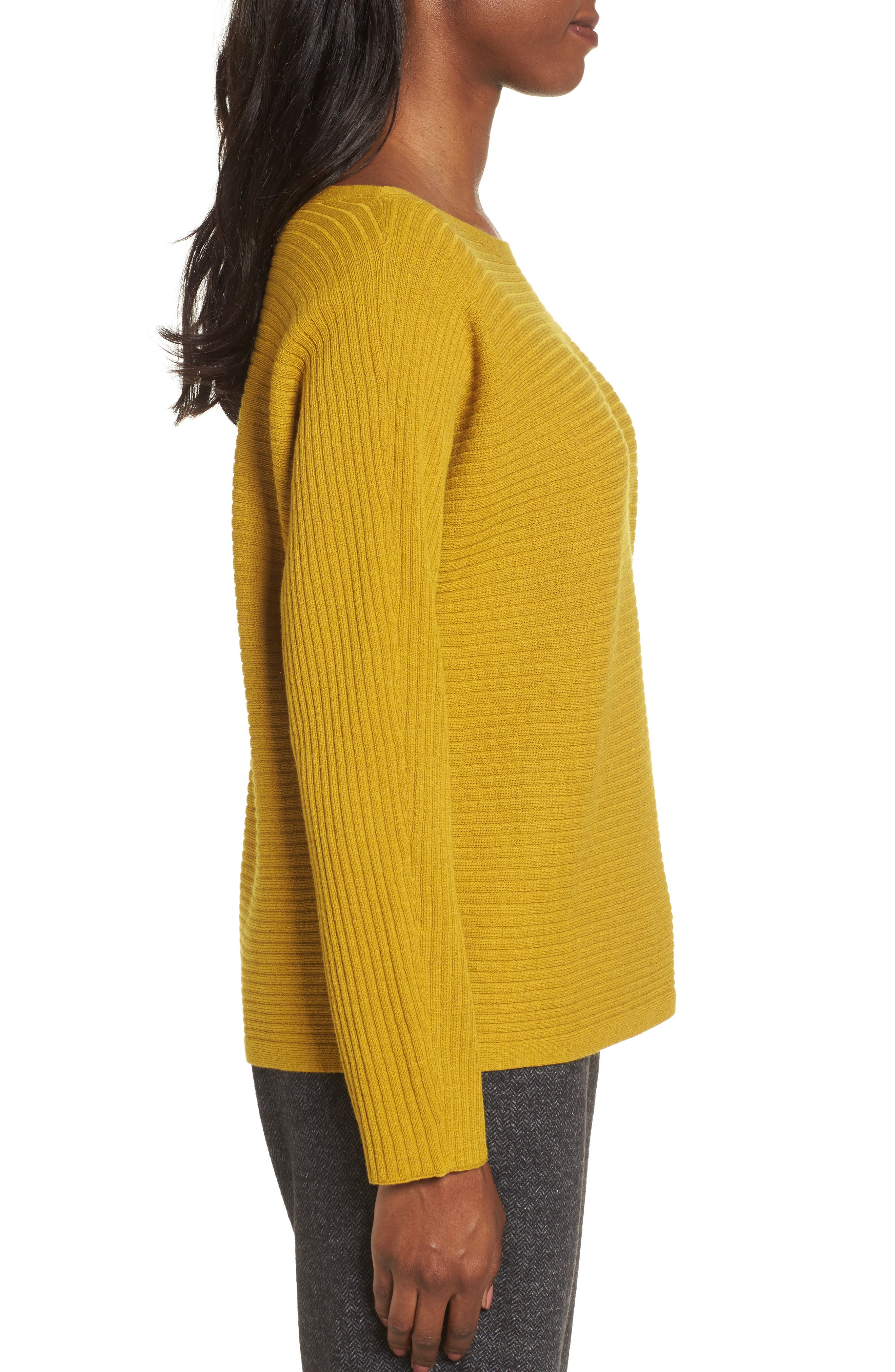 Boxy Ribbed Wool Sweater,                             Alternate thumbnail 4, color,                             Mustard Seed