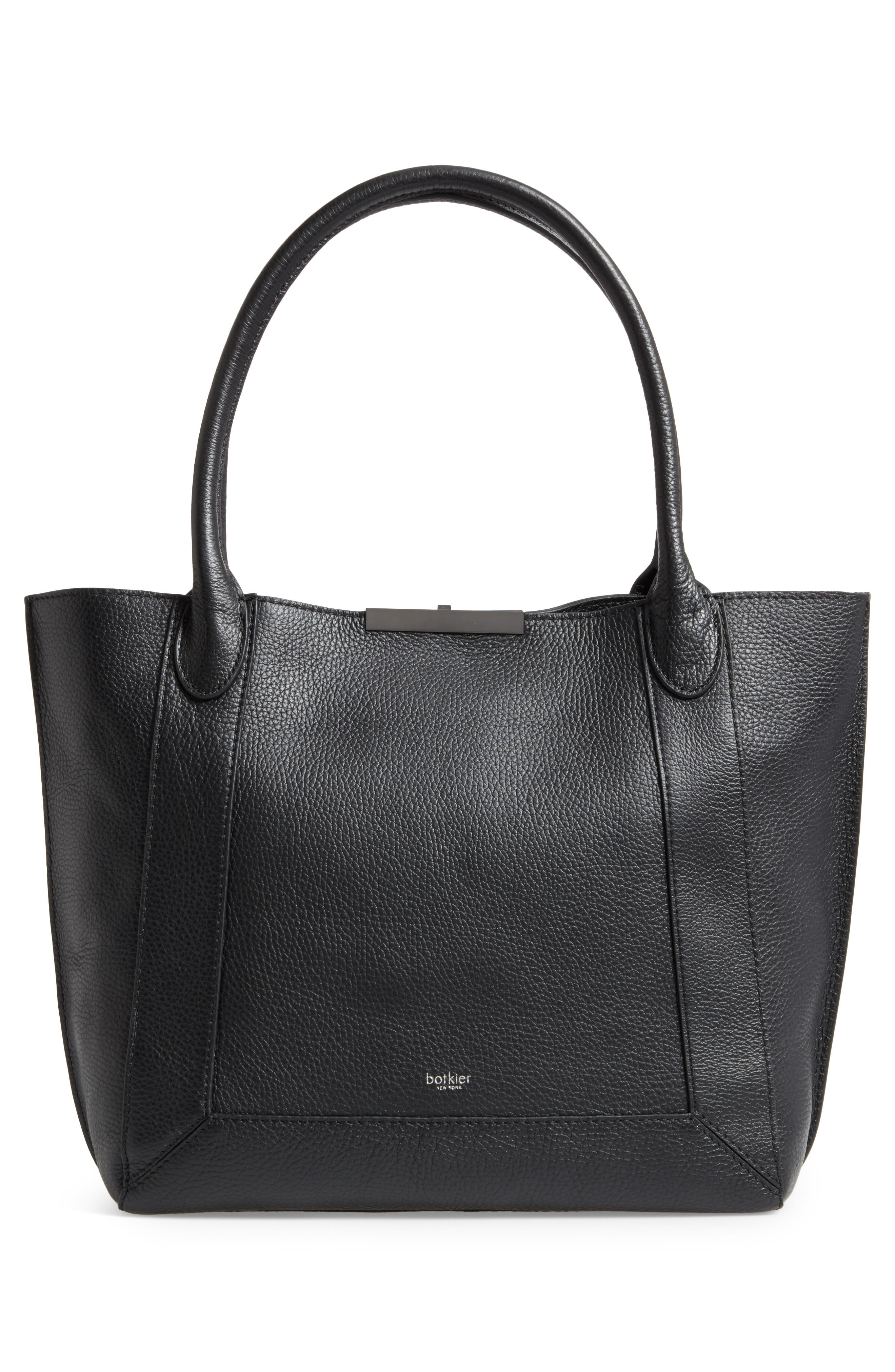 Perry Leather Tote,                             Alternate thumbnail 2, color,                             Black