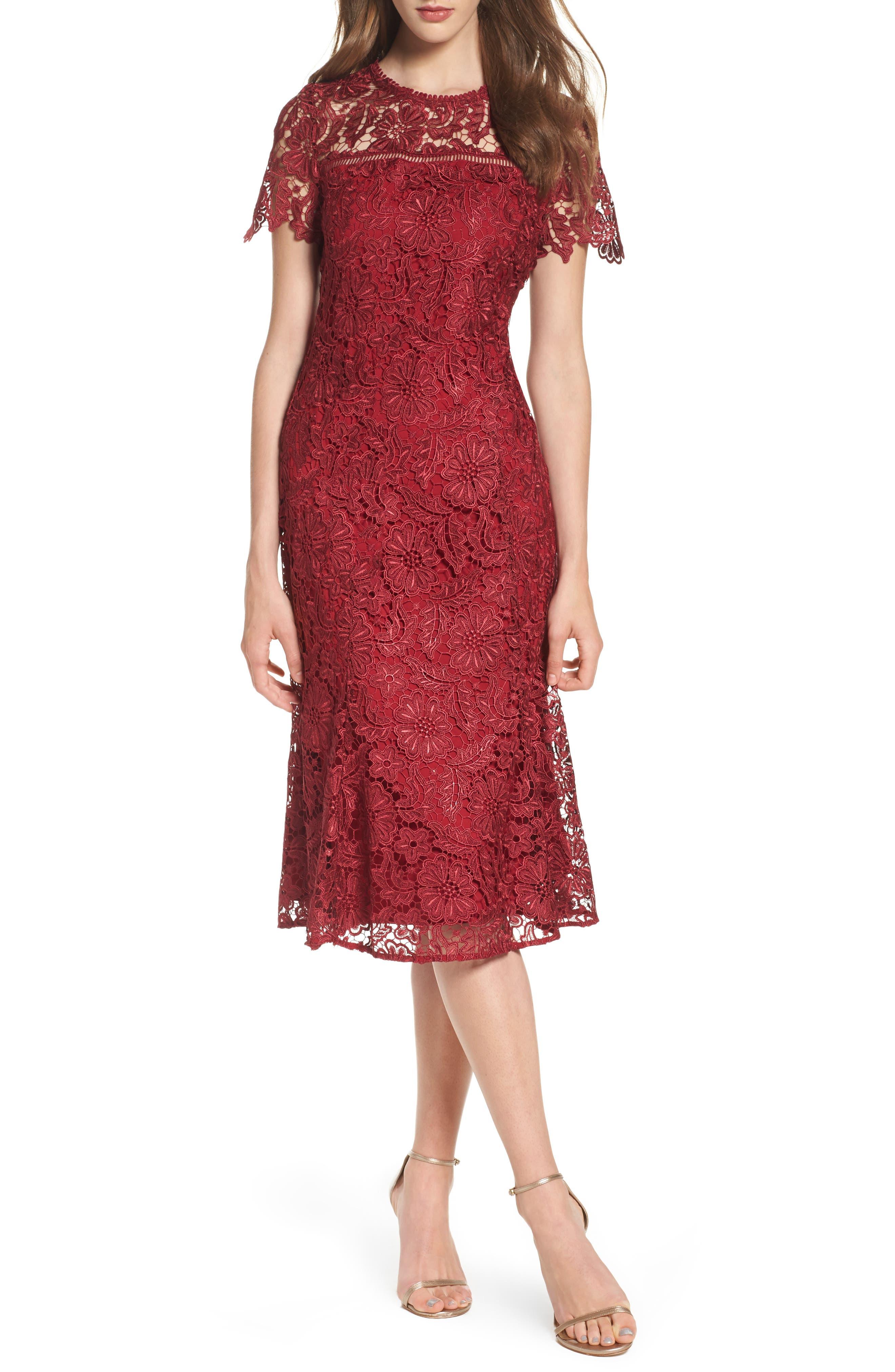 Park Lace Midi Dress,                             Main thumbnail 1, color,                             Cranberry