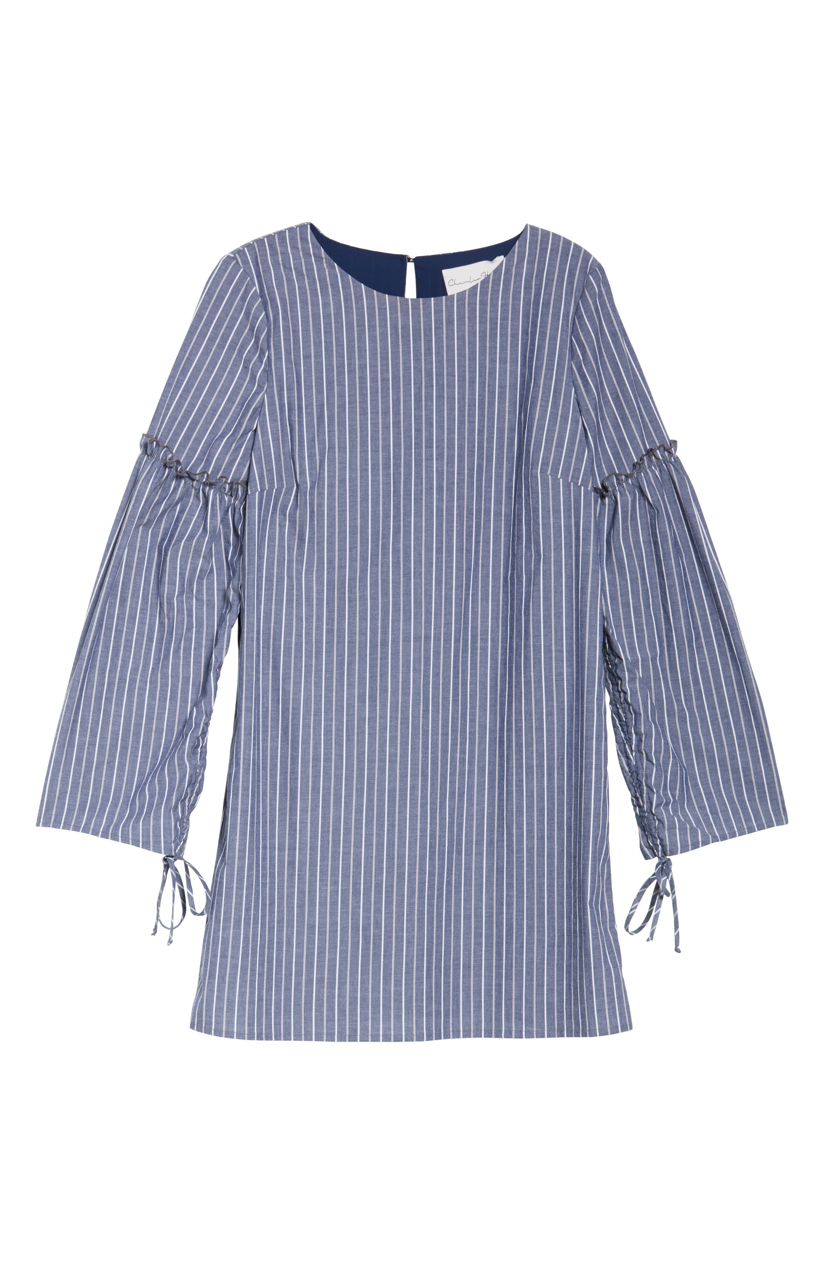 Ruched Sleeve Poplin Shift Dress,                             Alternate thumbnail 6, color,                             Navy Stripe