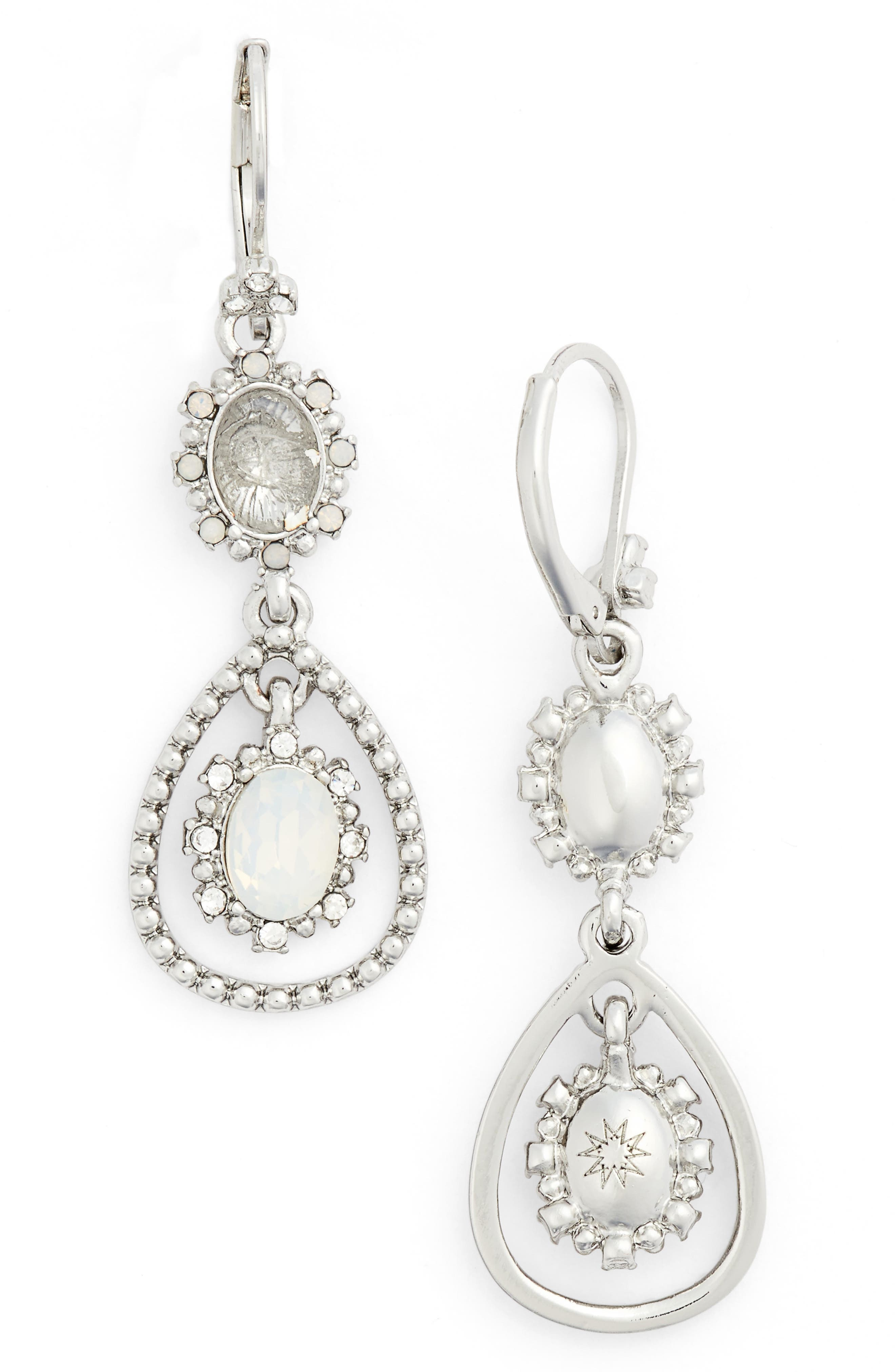 MARCHESA Crystal Orbital Drop Earrings