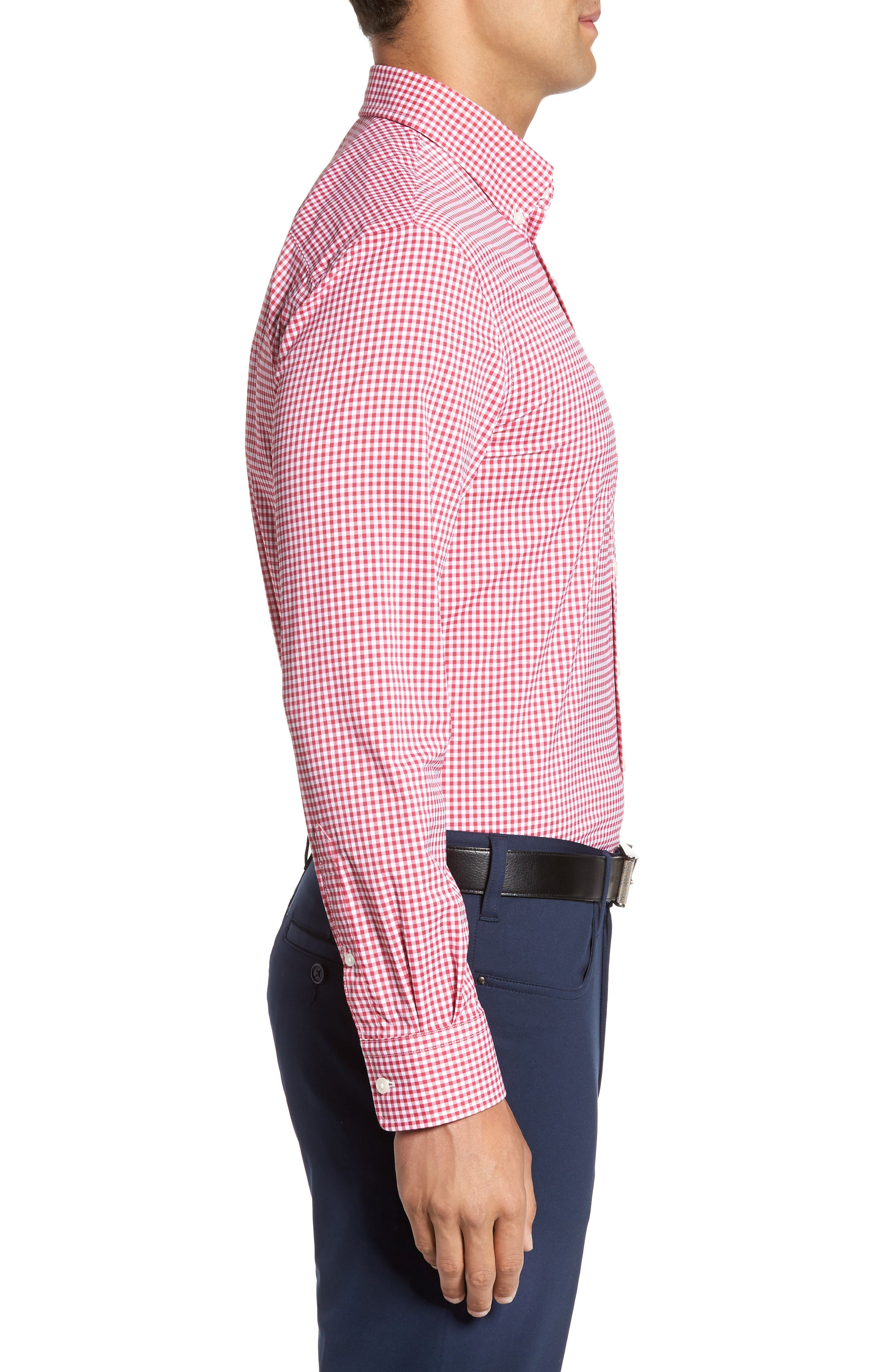 Ramsey Easy Care Gingham Sport Shirt,                             Alternate thumbnail 3, color,                             Pompei Pink