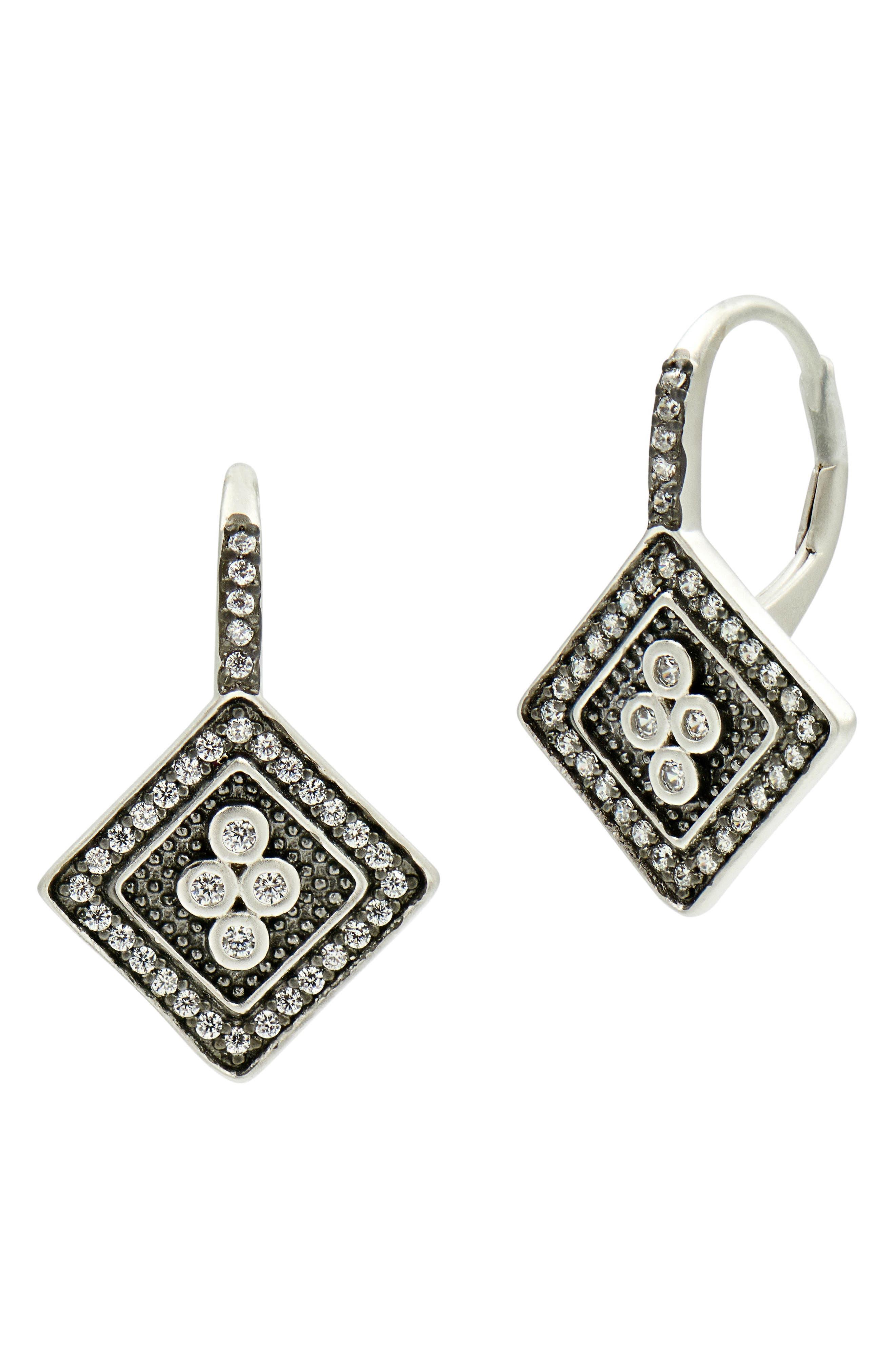 Industrial Finish Cubic Zirconia Drop Earrings,                             Main thumbnail 1, color,                             Black/ Silver