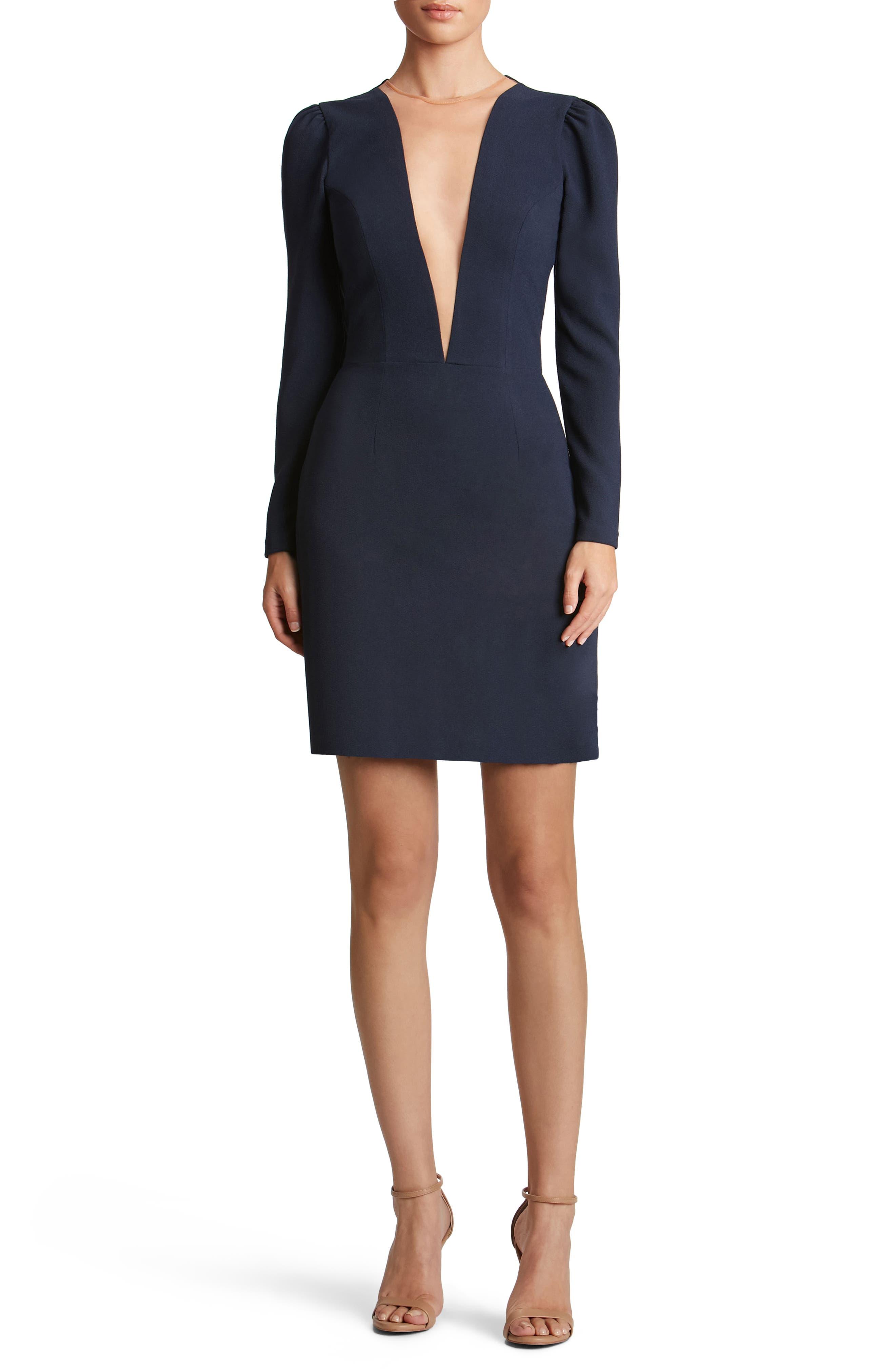 Kelli Plunging Crepe Sheath Dress,                         Main,                         color, Navy
