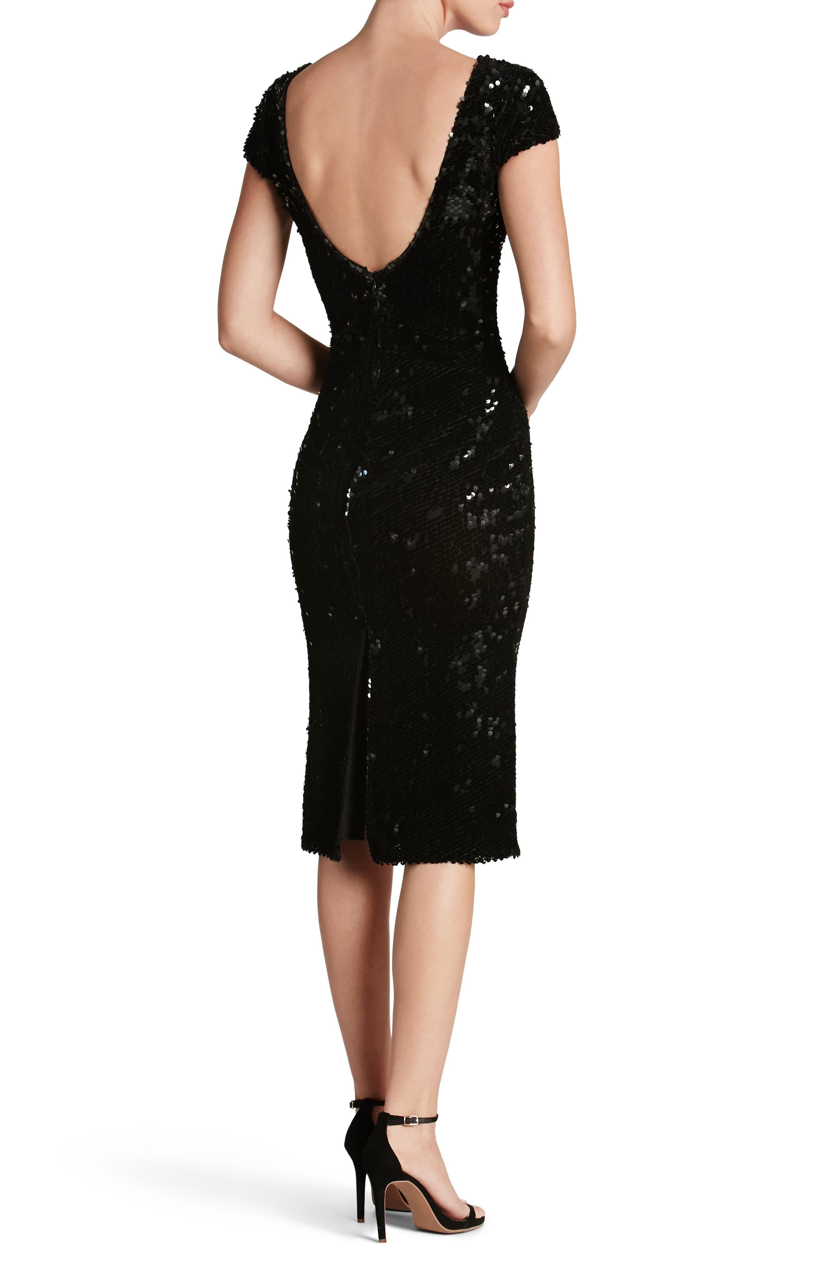 Marcella Sequin Body-Con Dress,                             Alternate thumbnail 2, color,                             Black