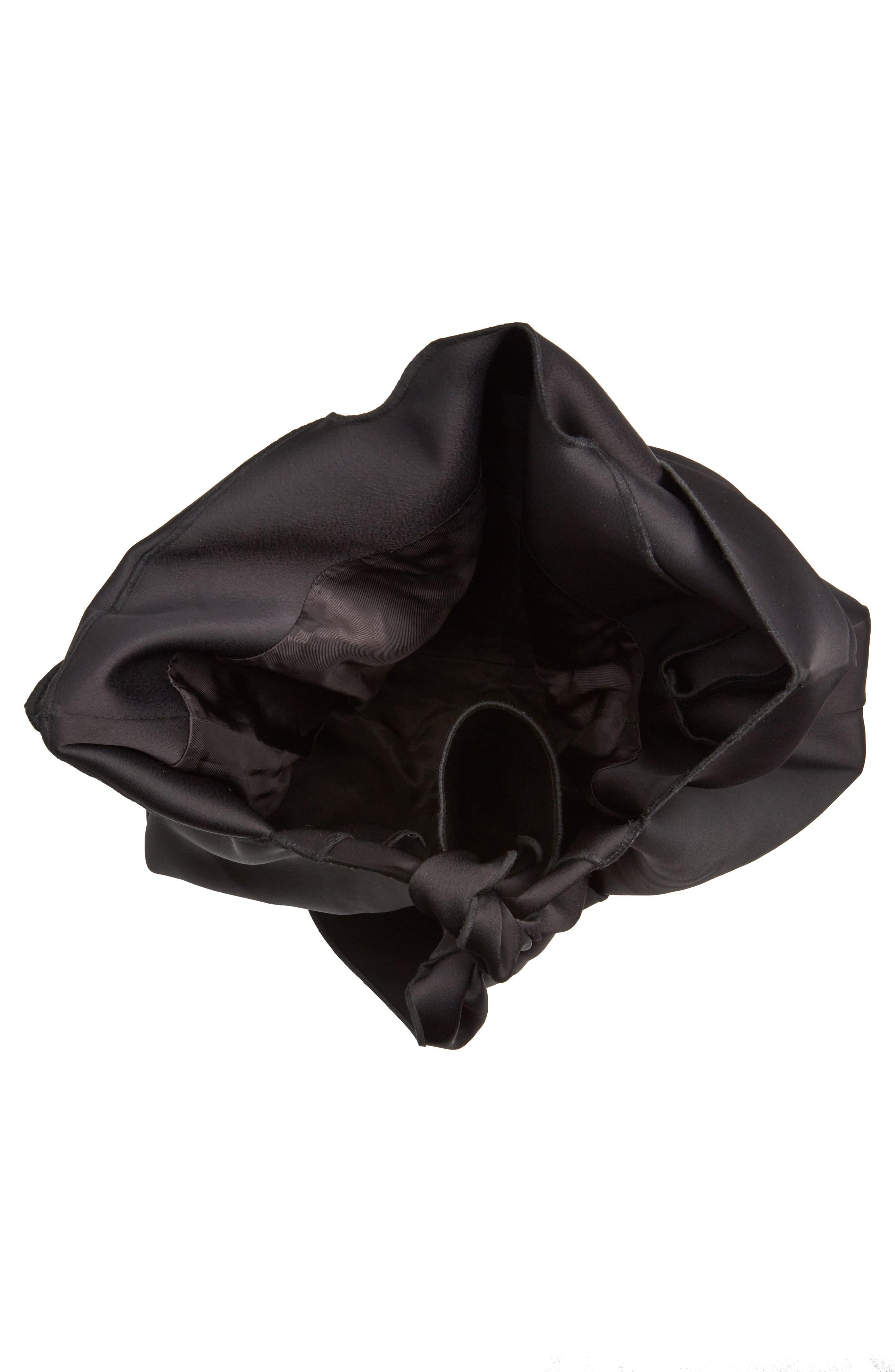 Oversize Tie Front Tote,                             Alternate thumbnail 4, color,                             Black