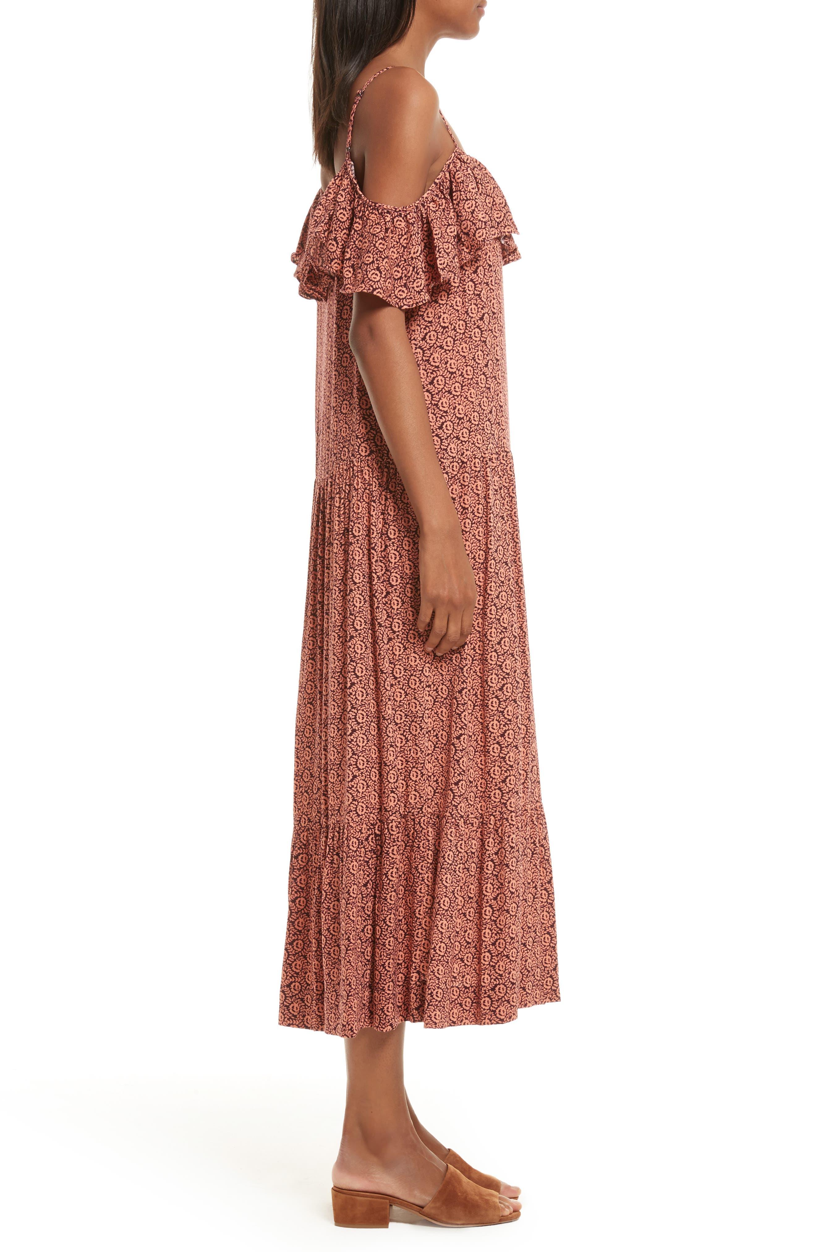 Lapaz Off the Shoulder Midi Dress,                             Alternate thumbnail 3, color,                             Melon
