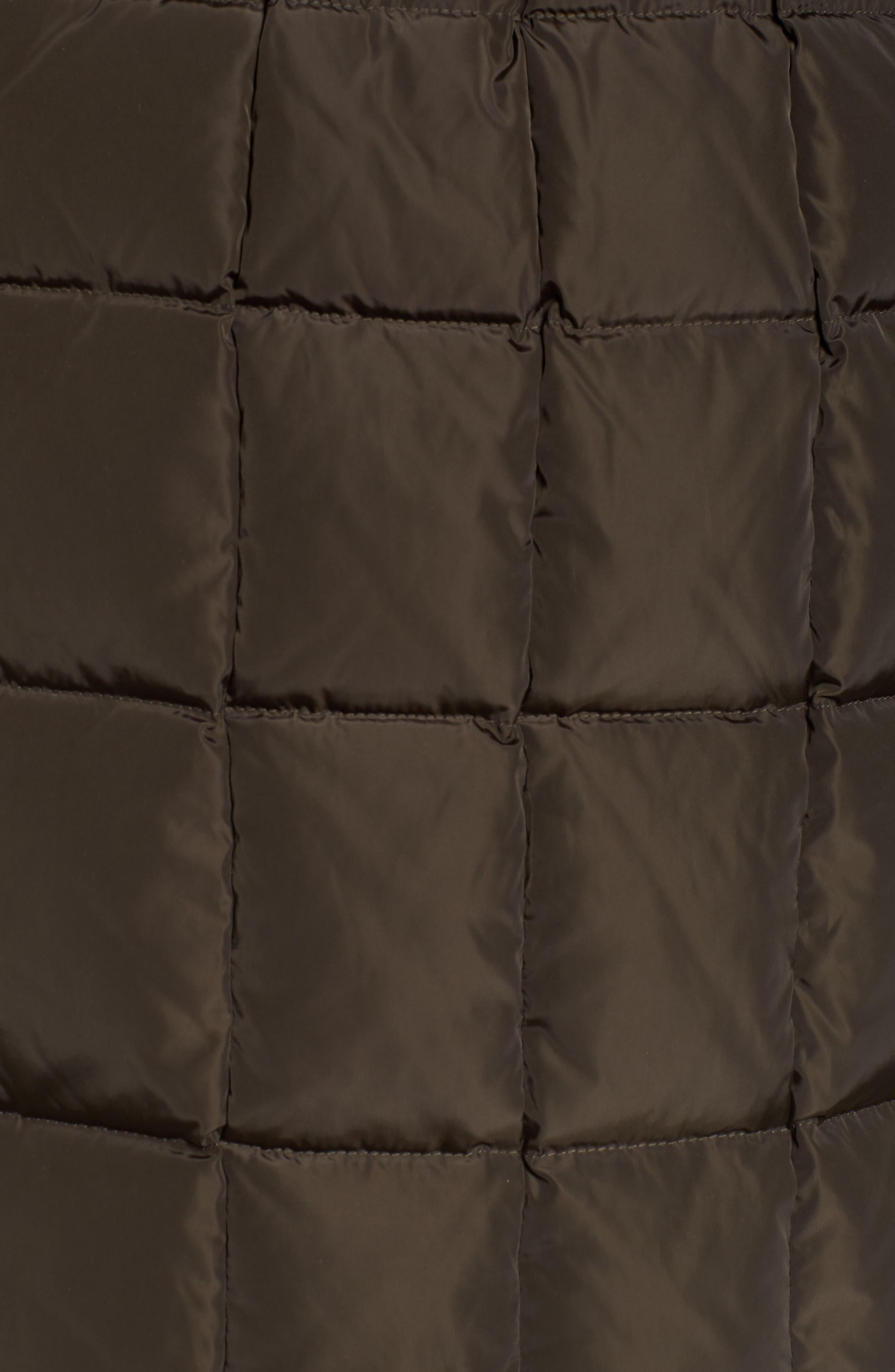 Down Coat with Faux Fur Trim,                             Alternate thumbnail 5, color,                             Kale