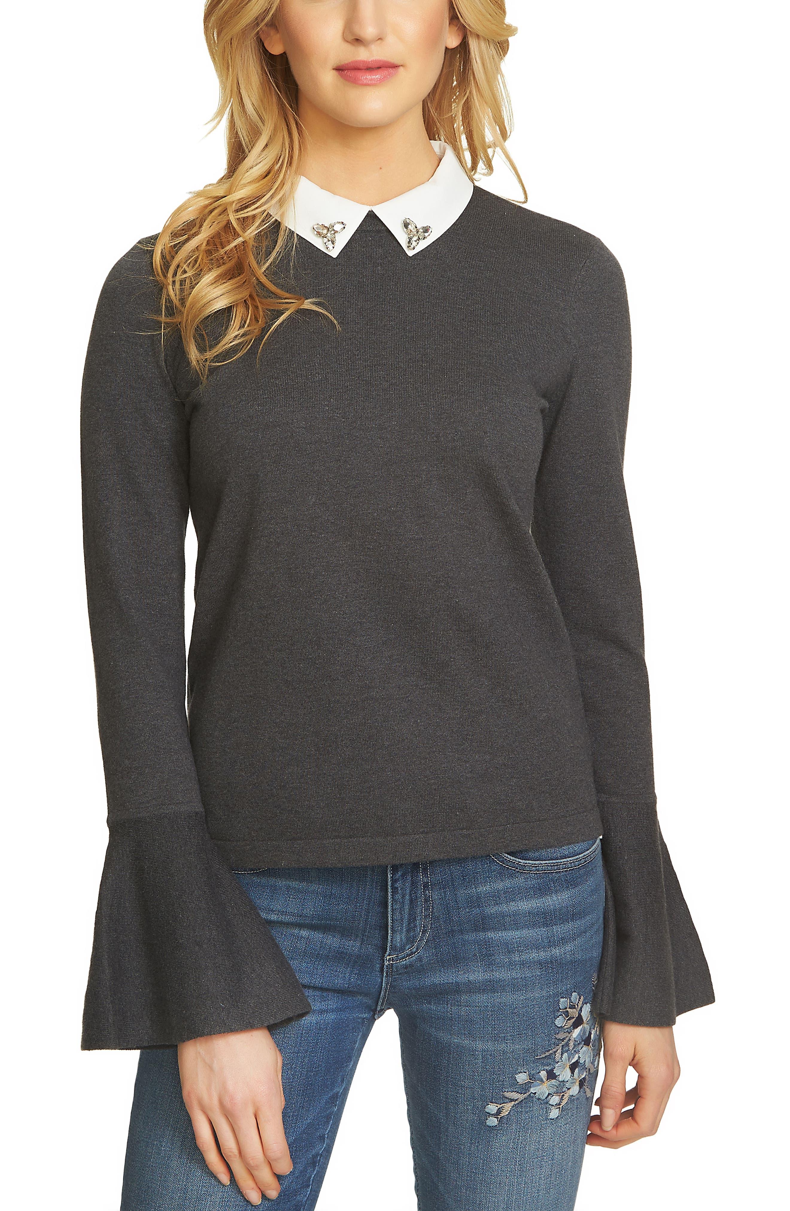 Collar Bell Sleeve Sweater,                         Main,                         color, Medium Heather Grey