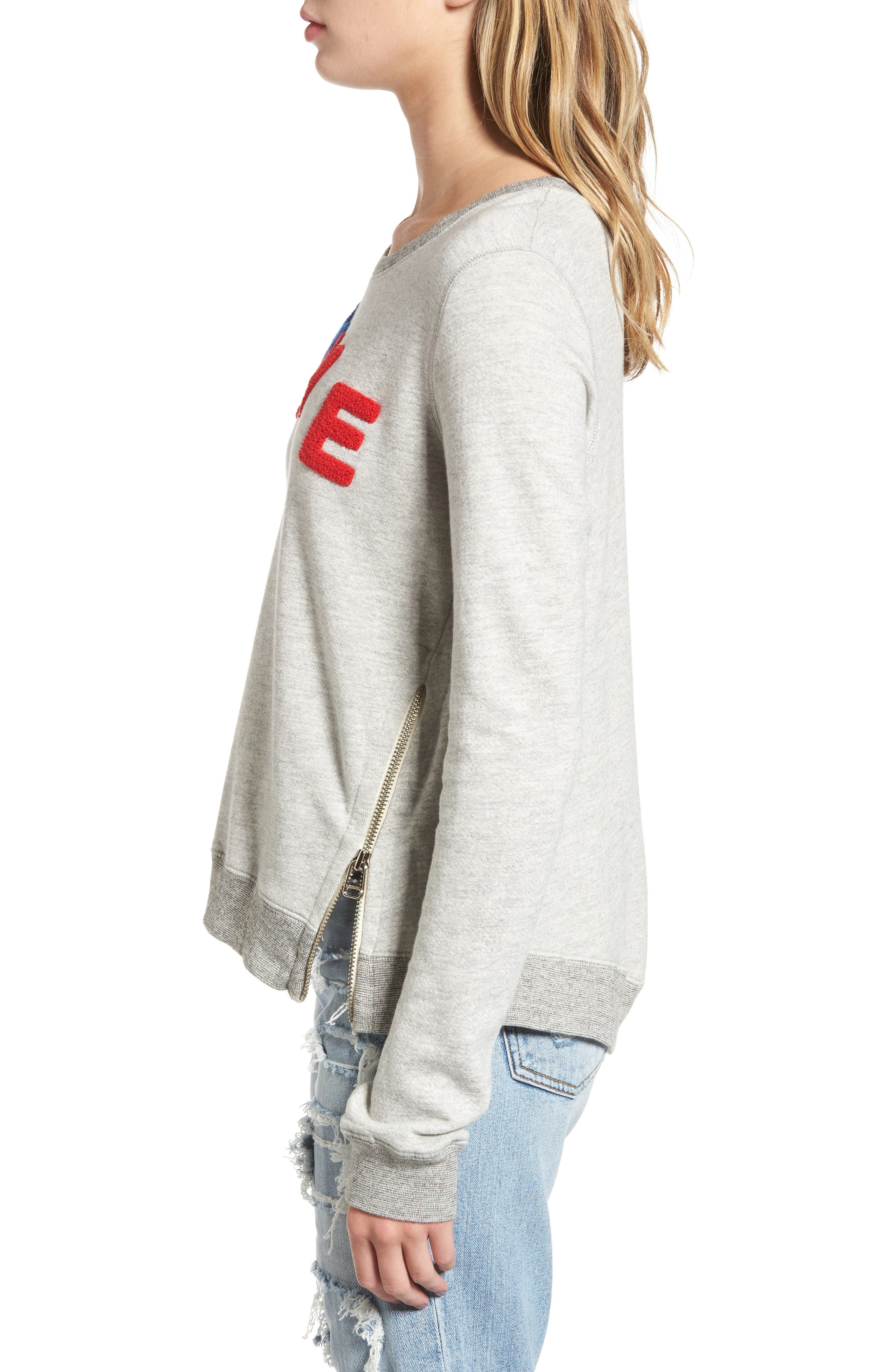 Love Sweatshirt,                             Alternate thumbnail 3, color,                             Heather Grey