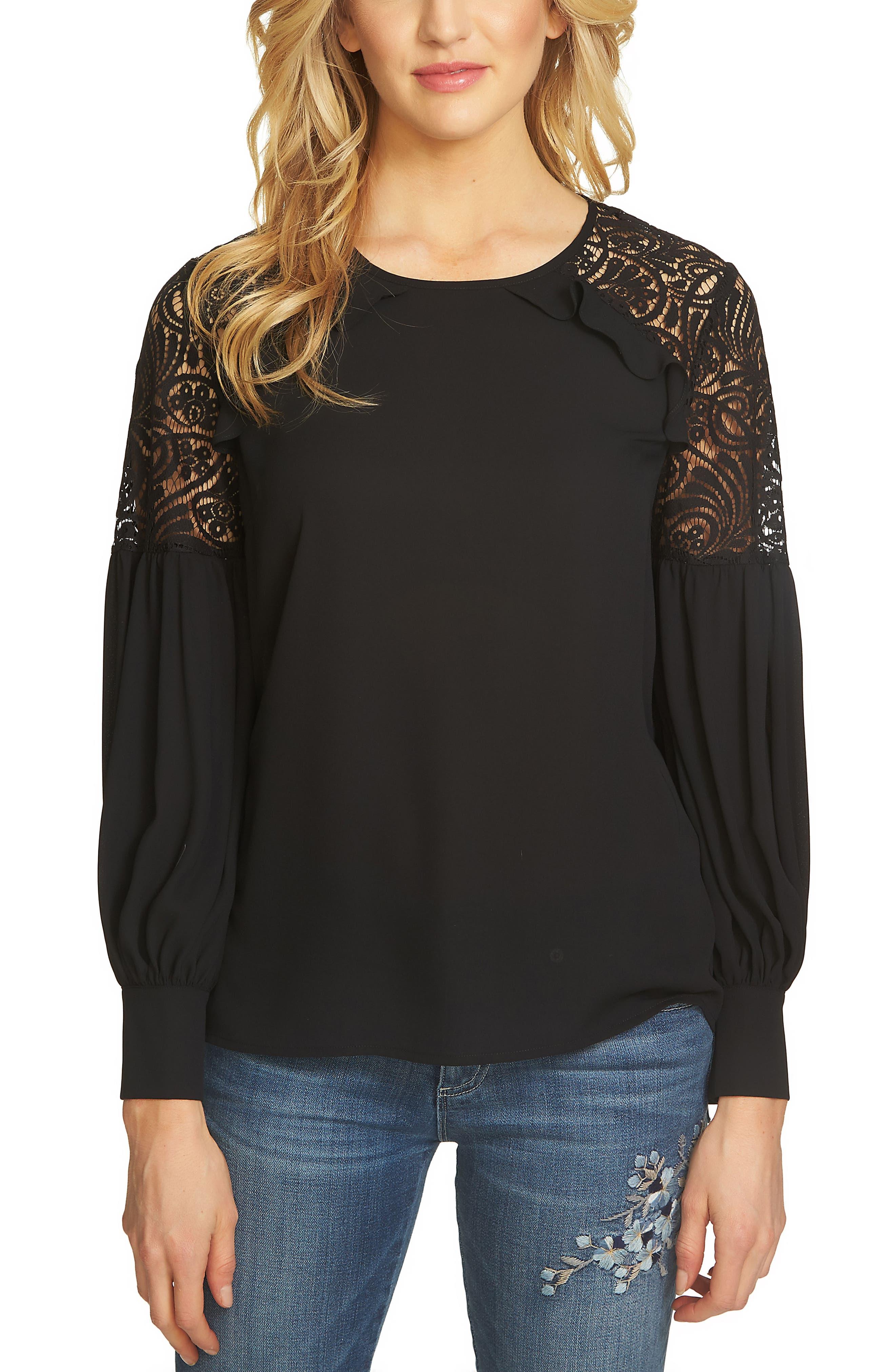 CeCe Ruffle Lace Shoulder Top