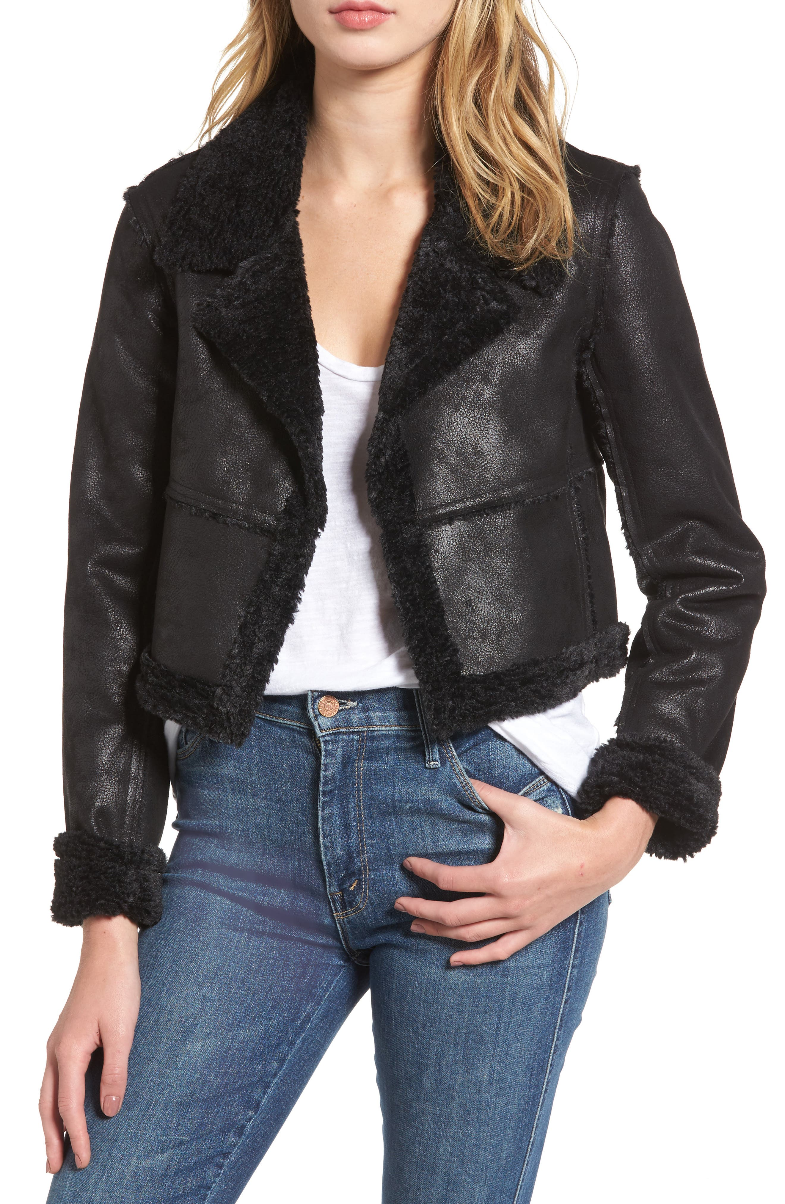 Claudine Faux Shearling Moto Jacket,                         Main,                         color, Black