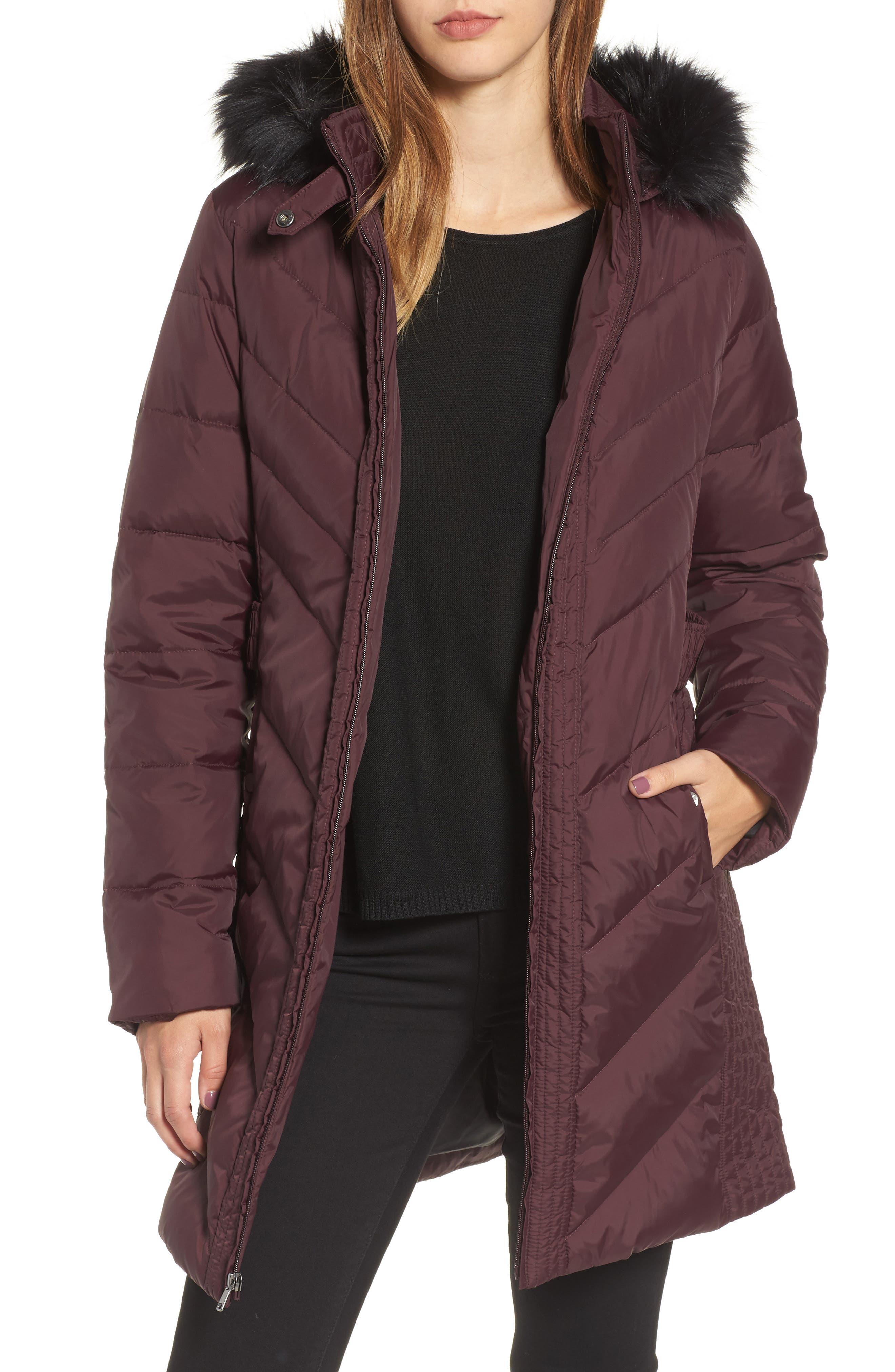 Alternate Image 1 Selected - Larry Levine Faux Fur Trim Hooded Jacket