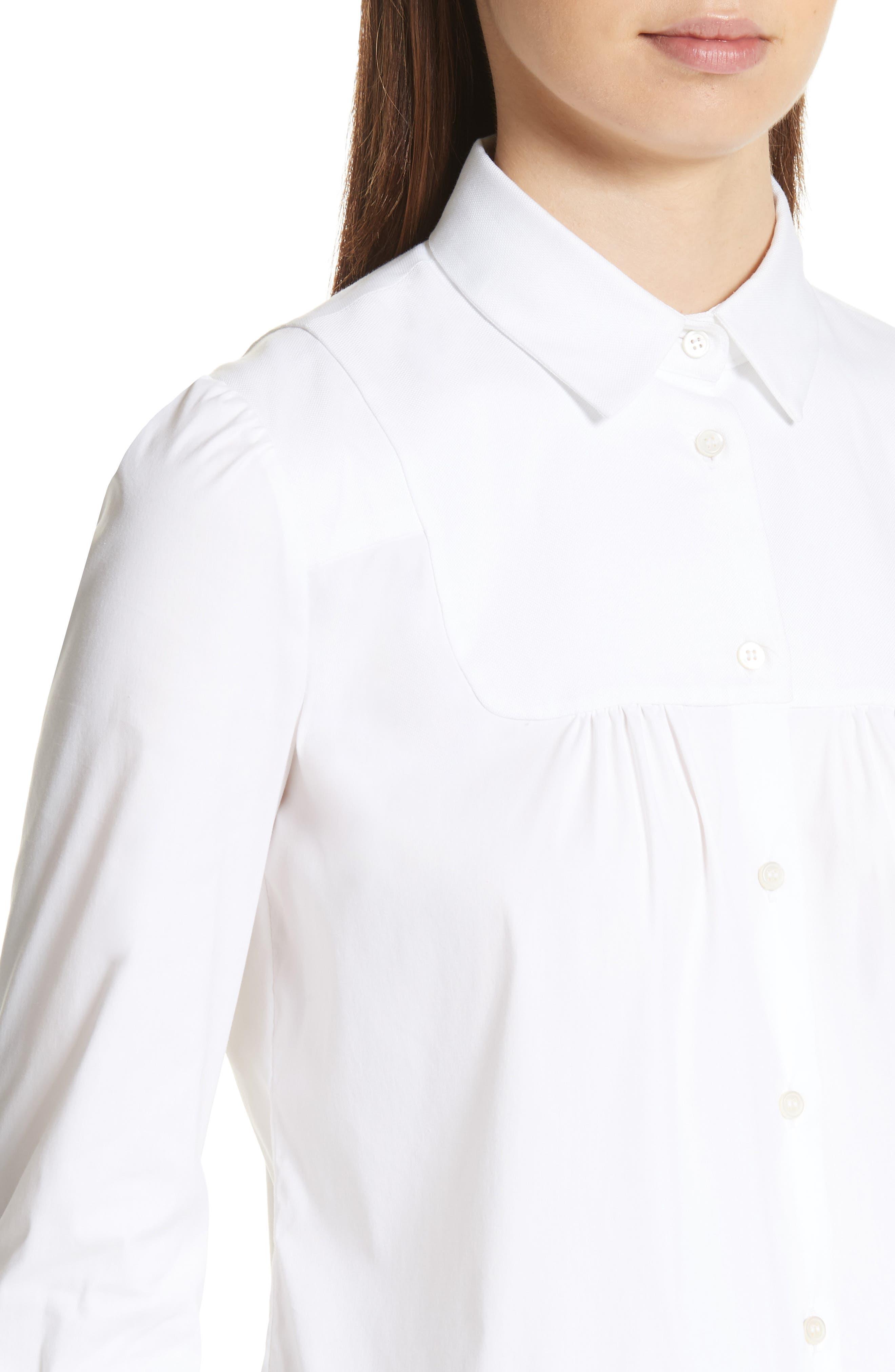 Stretch Poplin & Oxford Shirt,                             Alternate thumbnail 4, color,                             Bianco