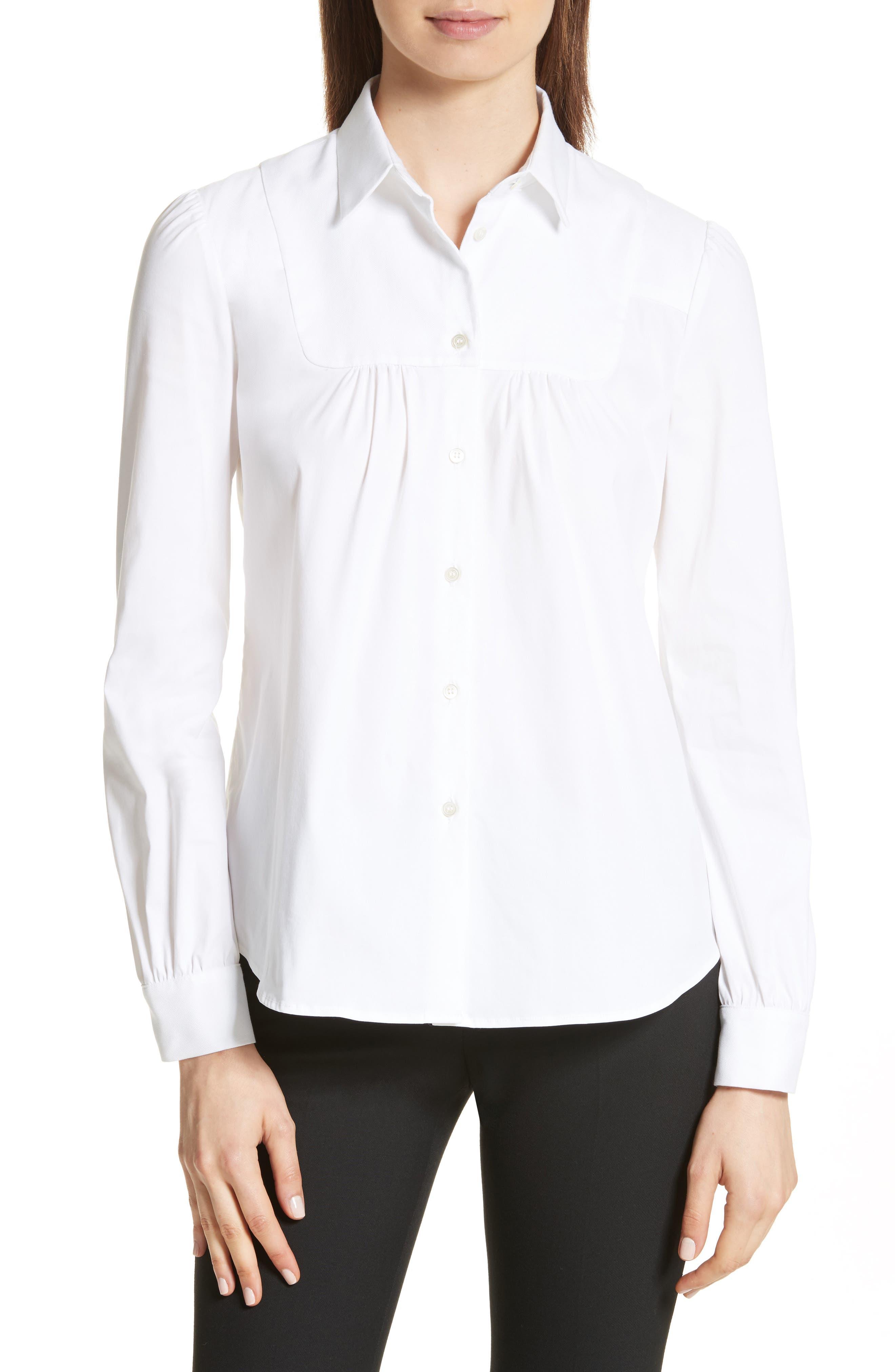 Stretch Poplin & Oxford Shirt,                         Main,                         color, Bianco